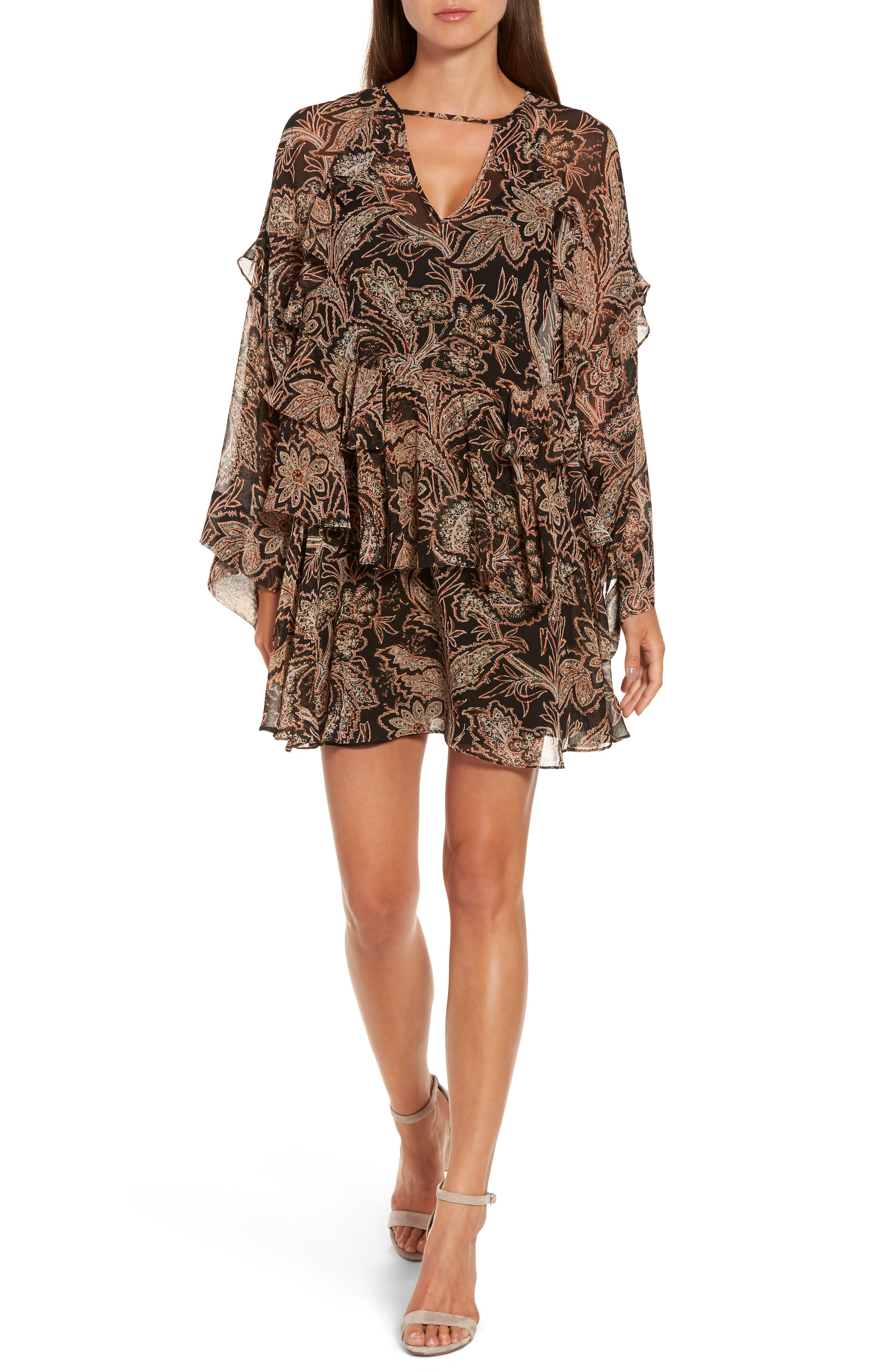 Ruffle Layer Minidress,                         Main,                         color, Black Striped Paisley