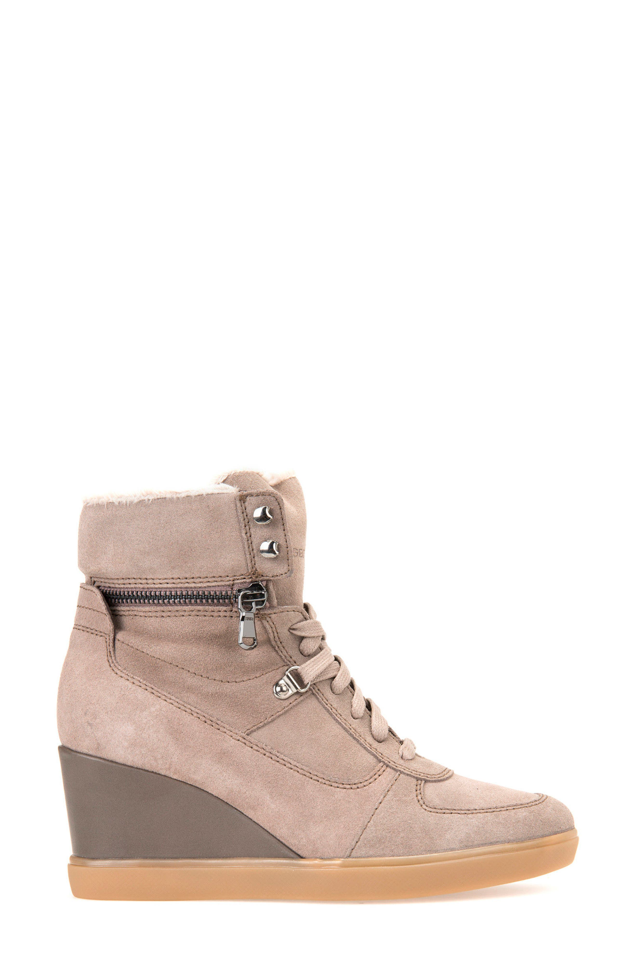Eleni Wedge Sneaker,                             Alternate thumbnail 3, color,                             Taupe Suede