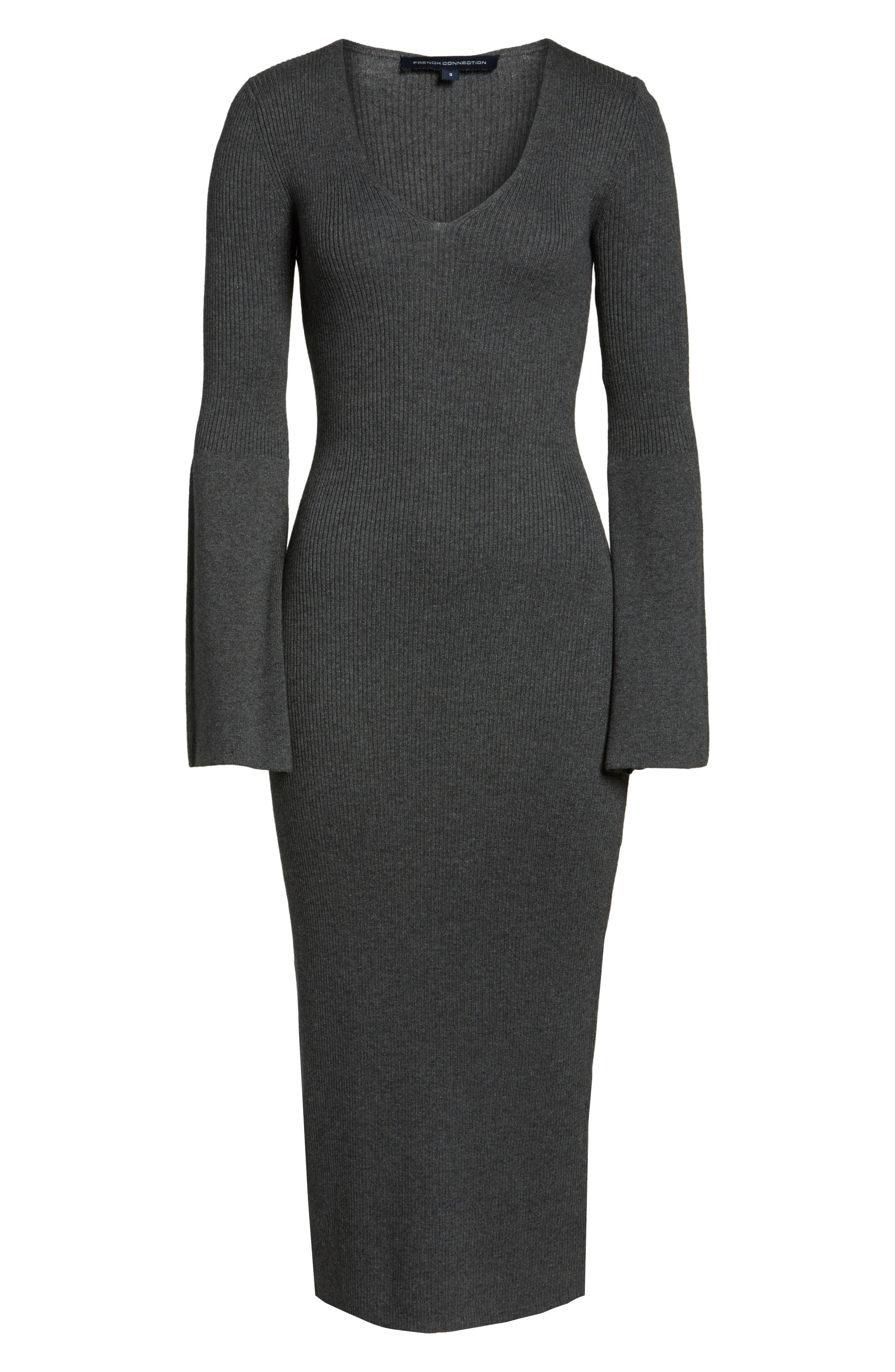 Virgie Knits Midi Dress,                             Alternate thumbnail 7, color,                             Charcoal
