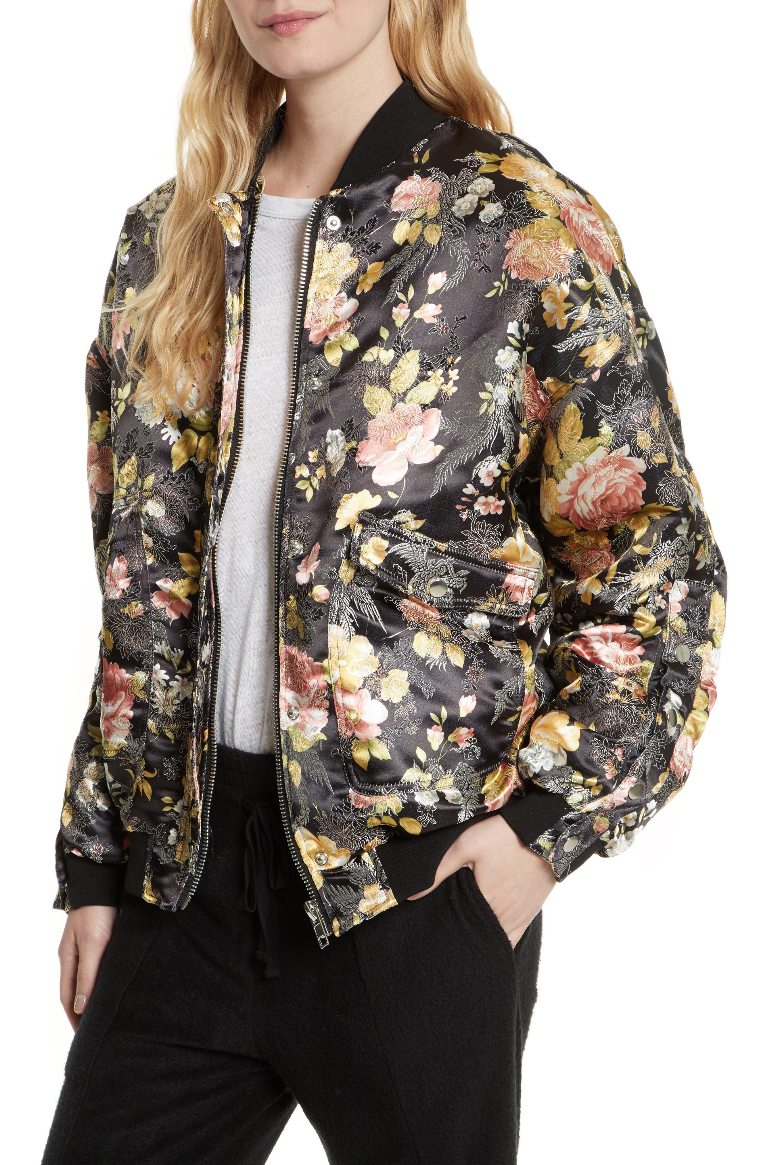 Floral Jacquard Bomber Jacket,                             Alternate thumbnail 7, color,                             Black Combo
