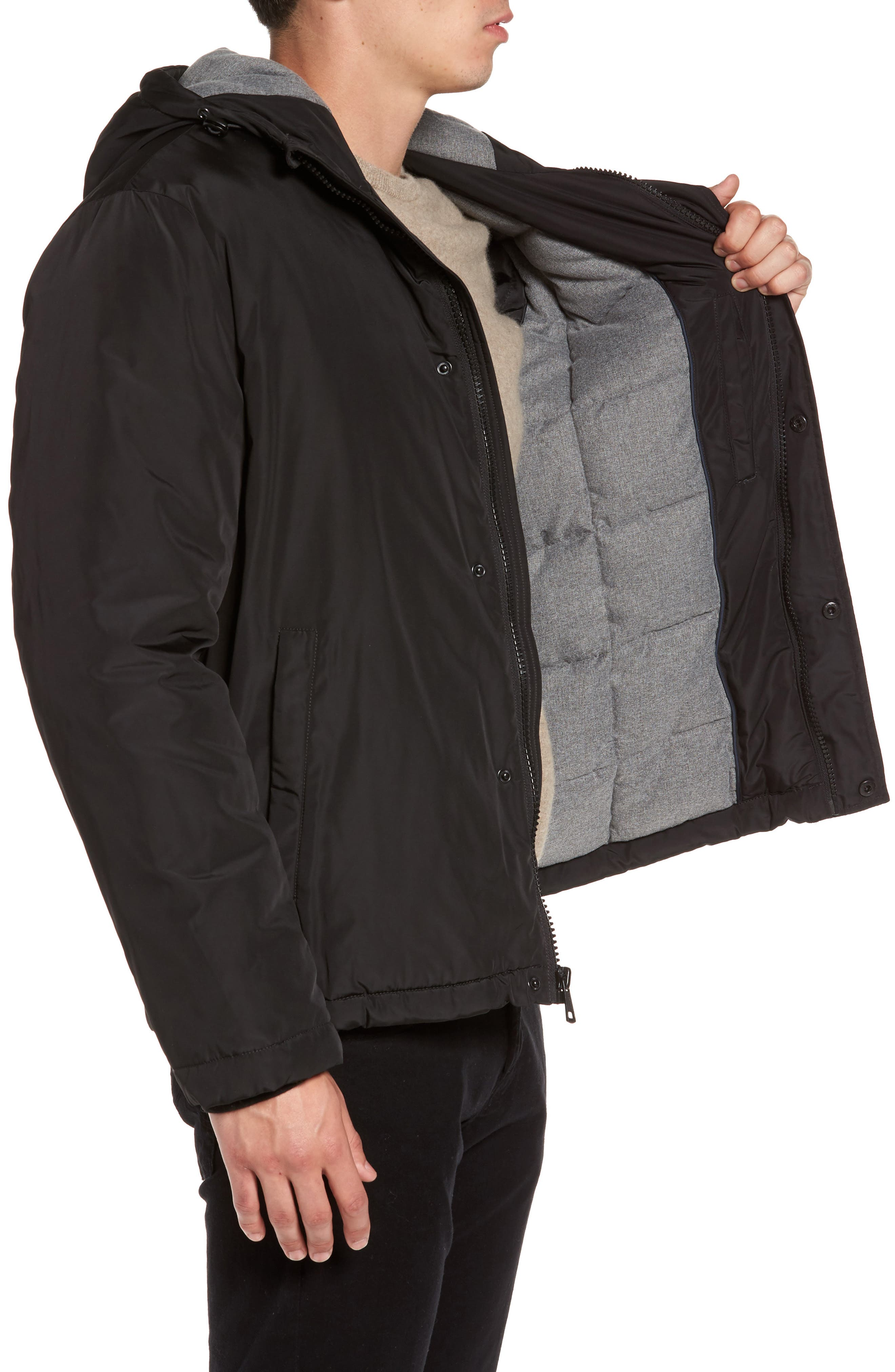 Water Resistant Insulated Jacket,                             Alternate thumbnail 3, color,                             Black