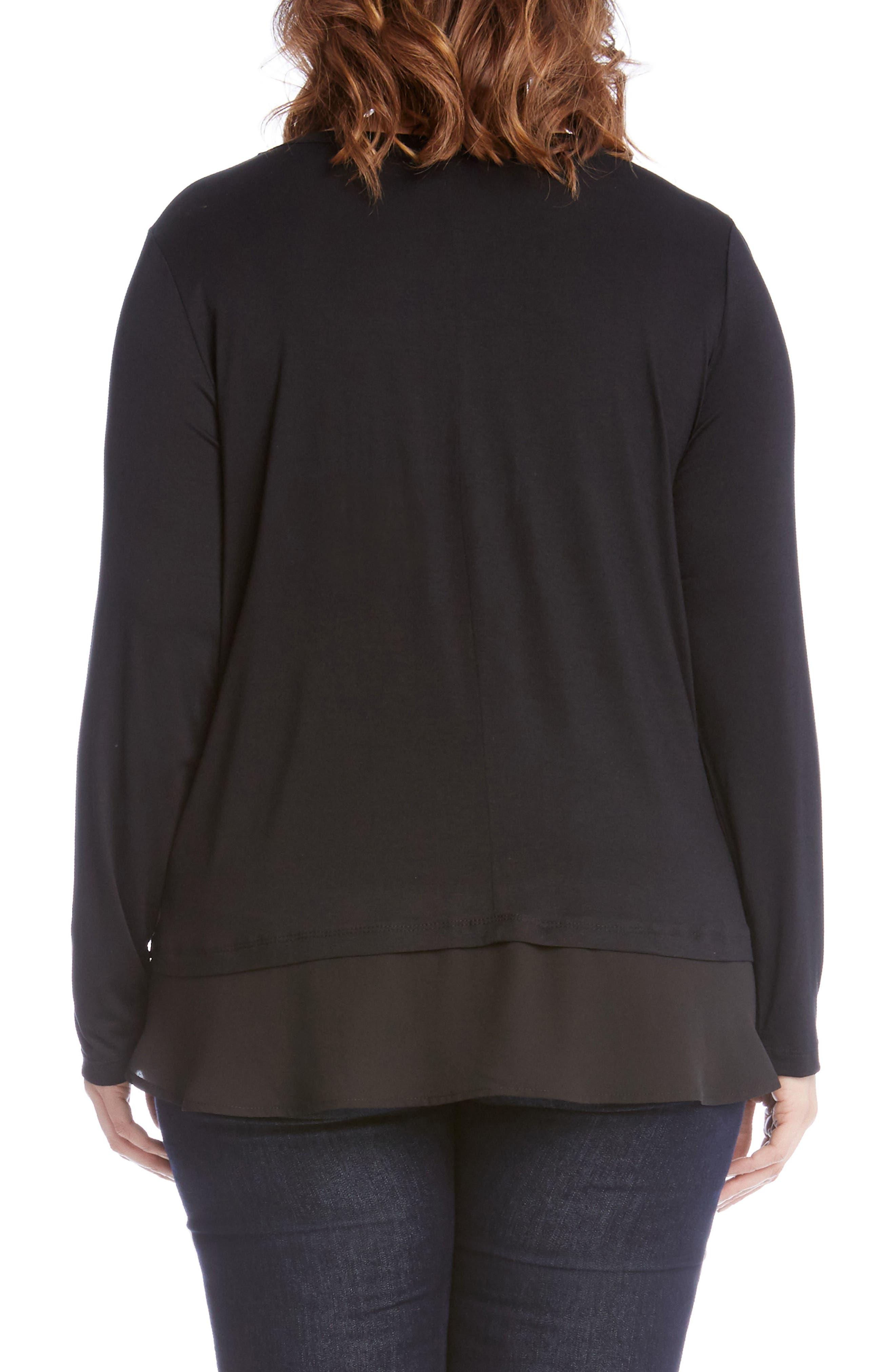 Alternate Image 2  - Karen Kane Studded Woven Hem Top (Plus Size)