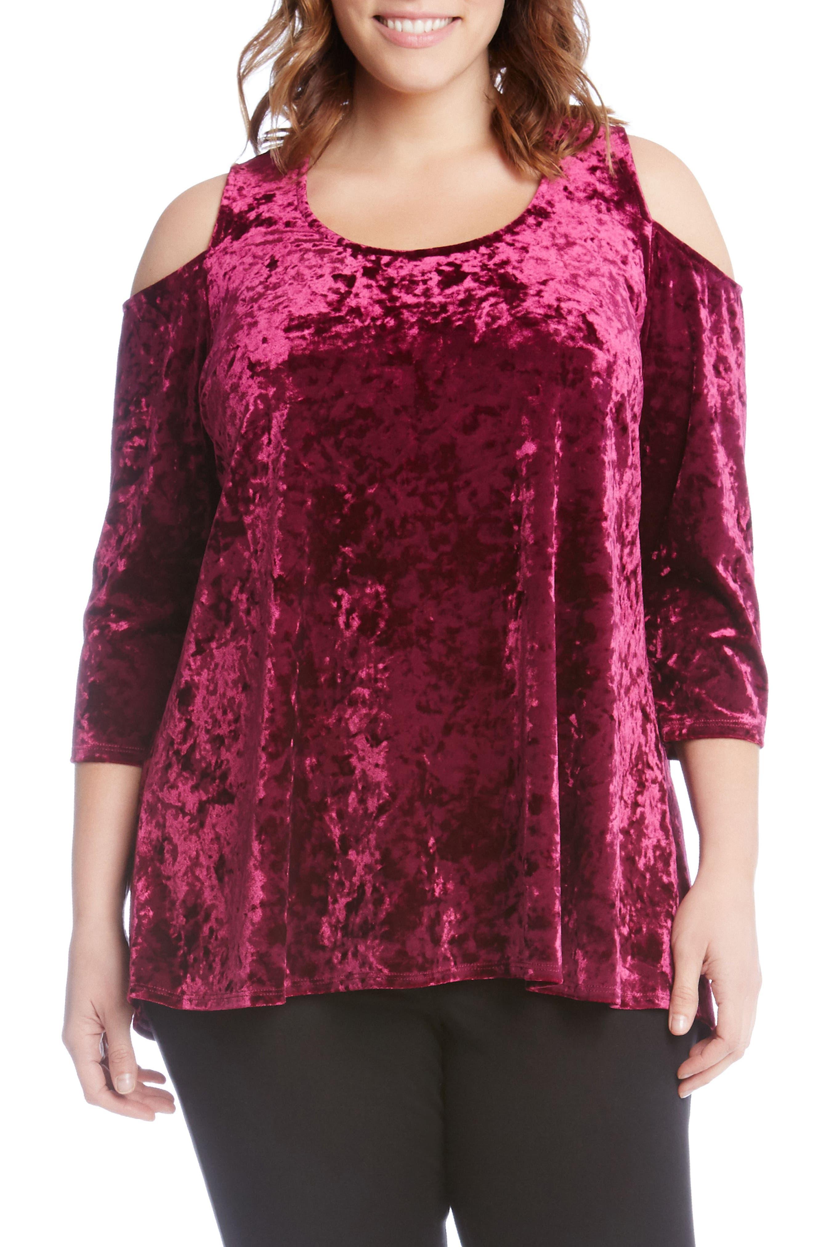 Main Image - Karen Kane Cold Shoulder Velvet Top (Plus Size)