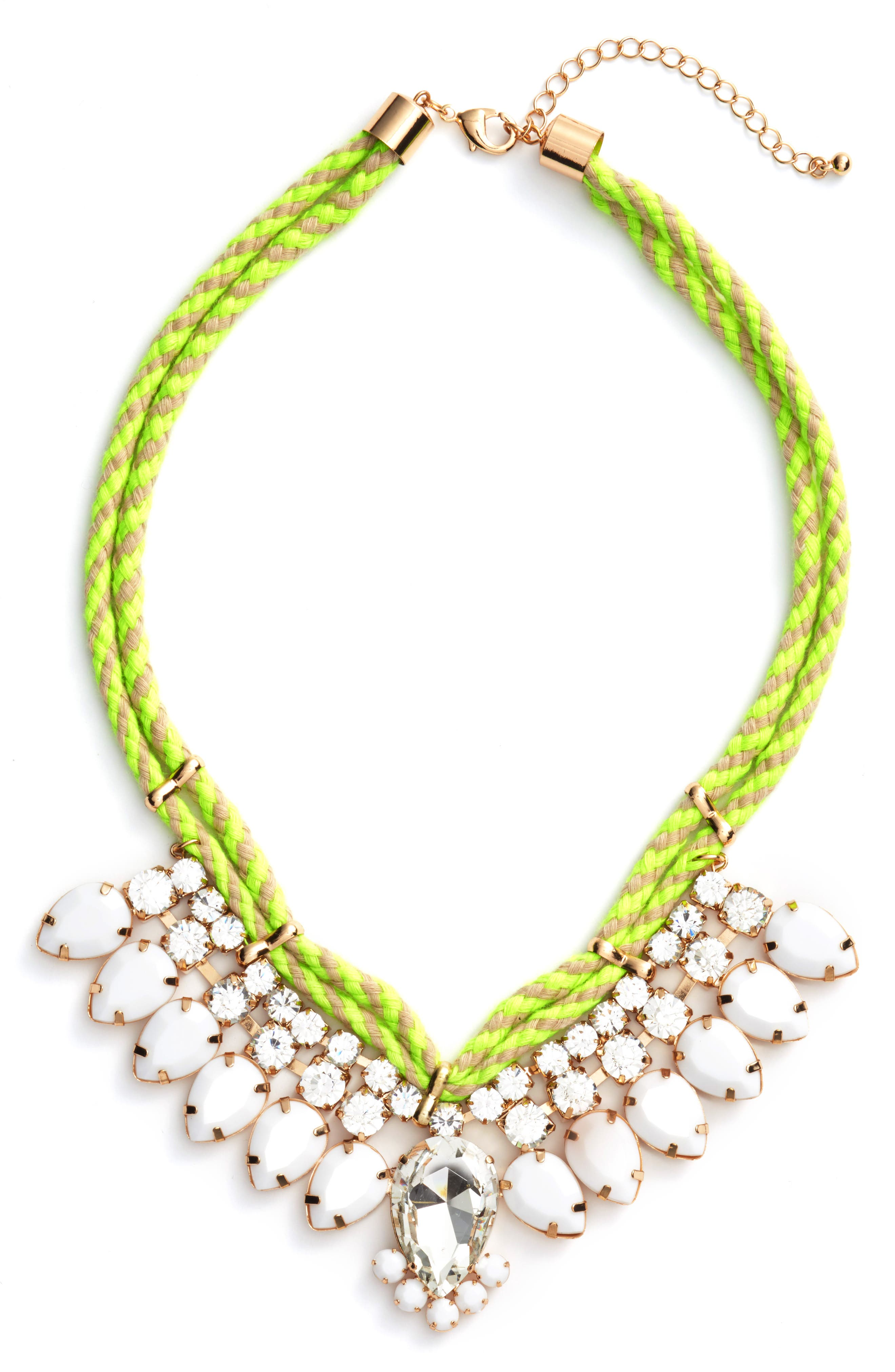Teardrop Rope Necklace,                         Main,                         color, White