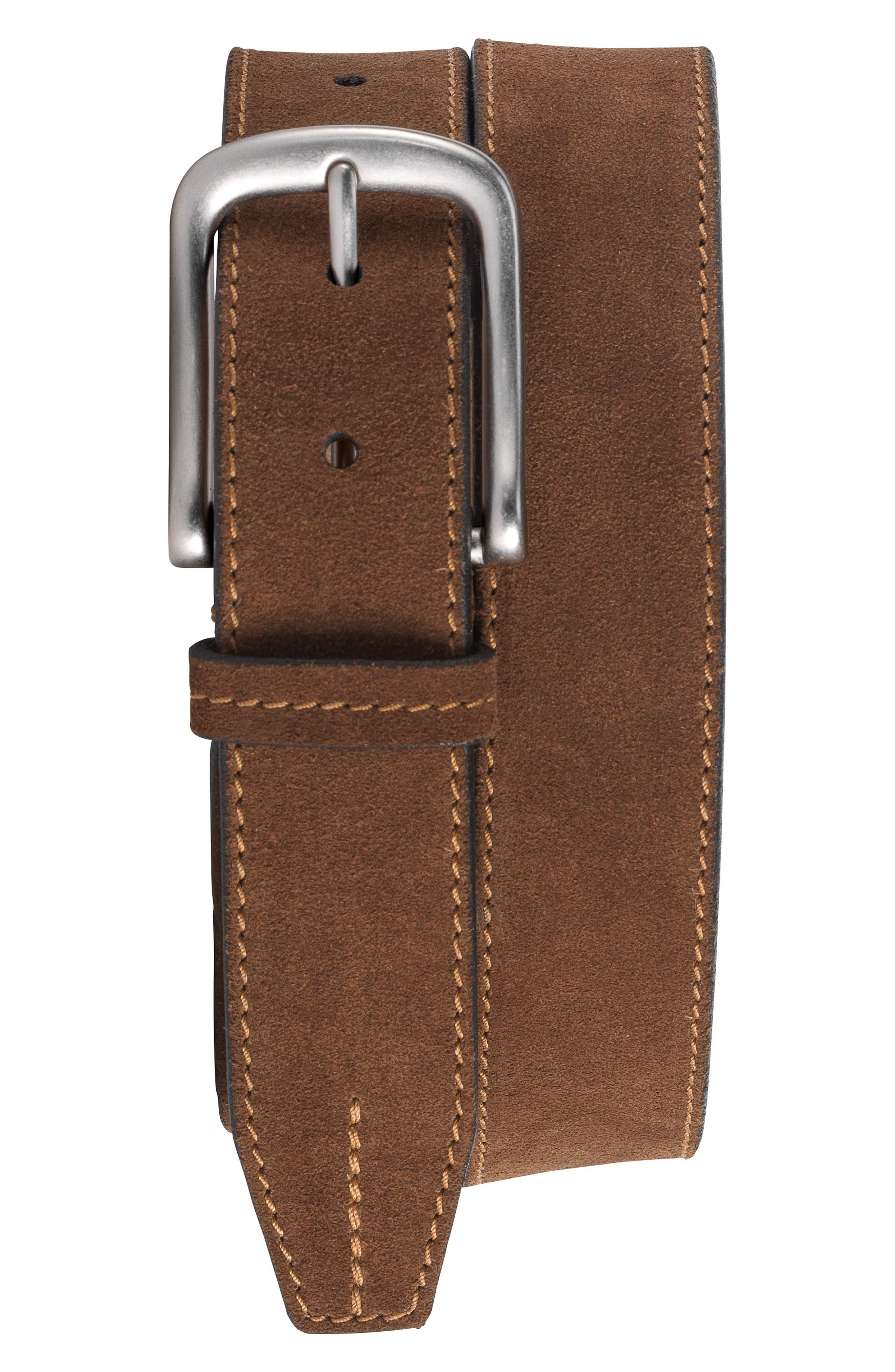 Finley Suede Belt,                             Main thumbnail 1, color,                             Snuff Suede
