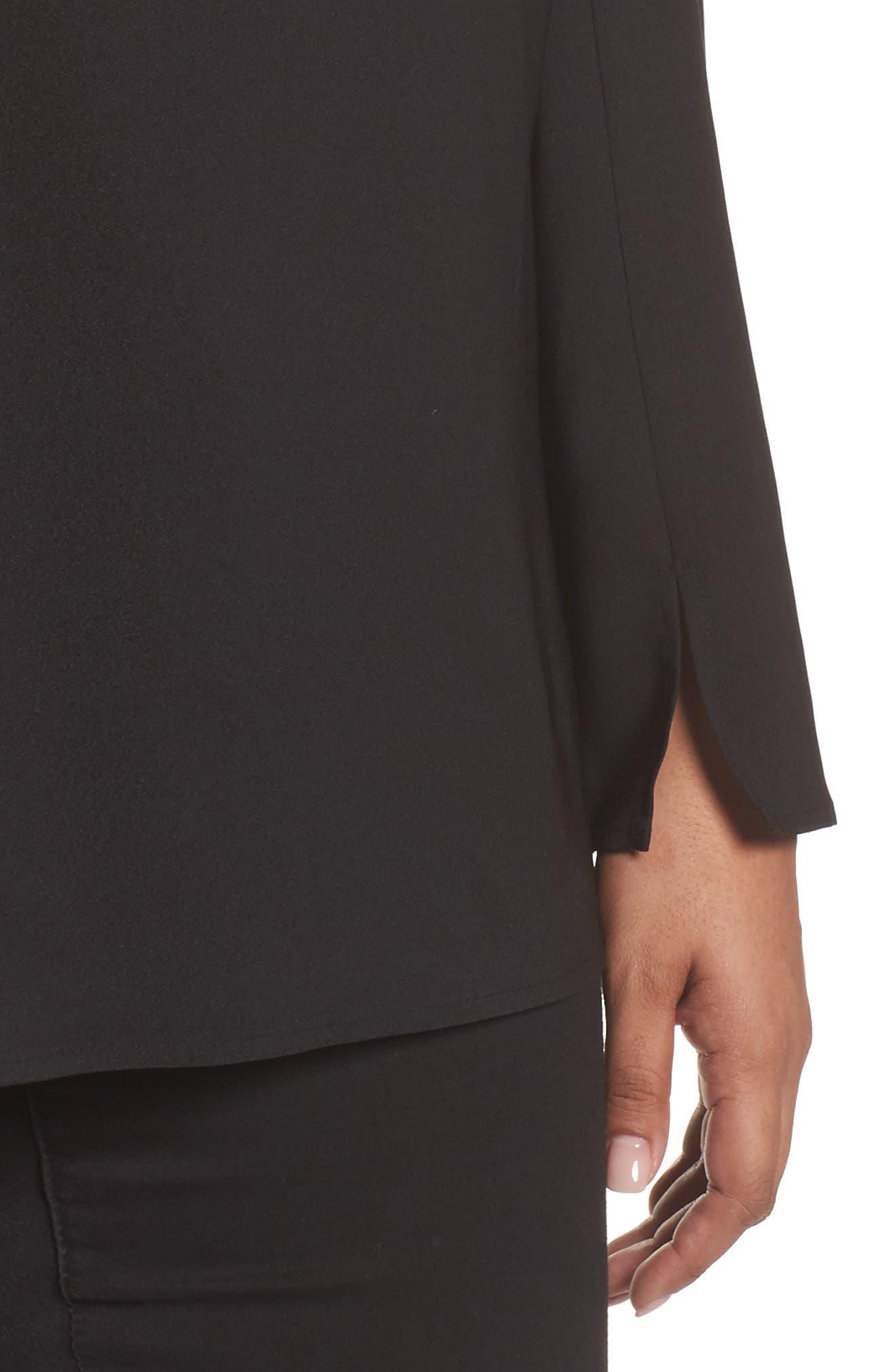 One-Shoulder Bell Sleeve Top,                             Alternate thumbnail 4, color,                             Black