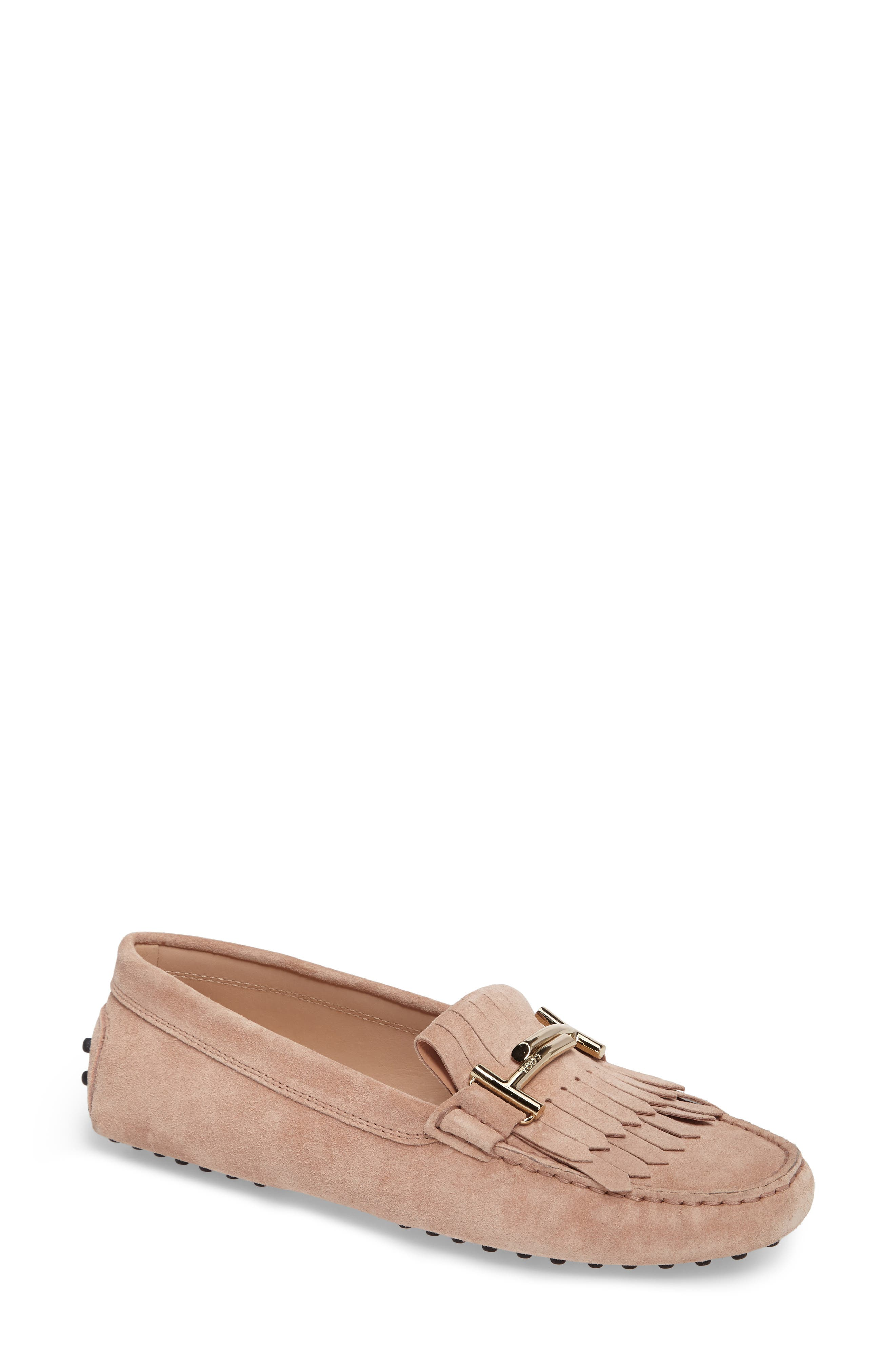 Double T Fringe Gommino Loafer,                             Main thumbnail 1, color,                             Cheek Beige
