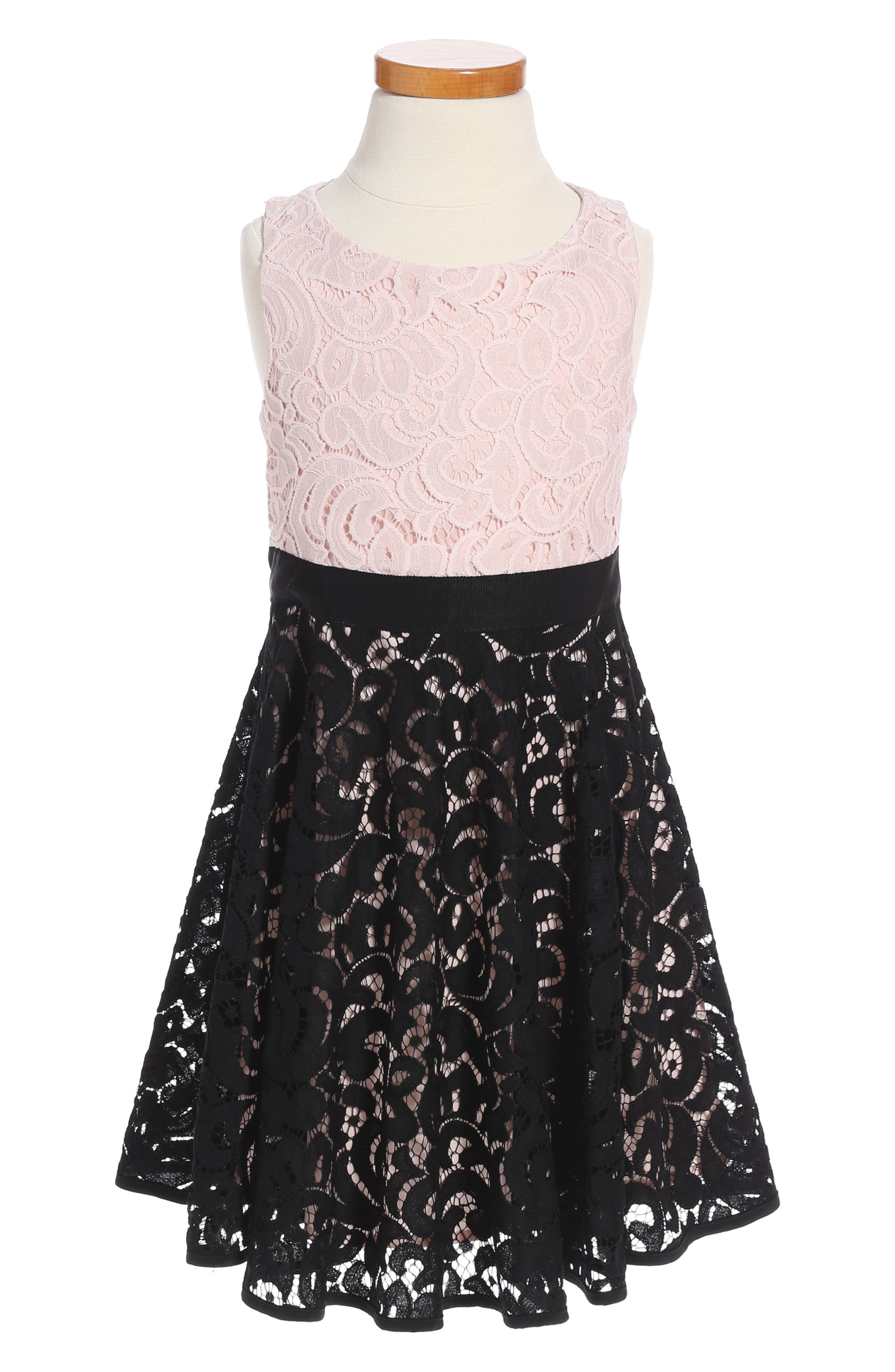 Alternate Image 1 Selected - Milly Minis Lace Combo Dress (Toddler Girls, Little Girls & Big Girls)