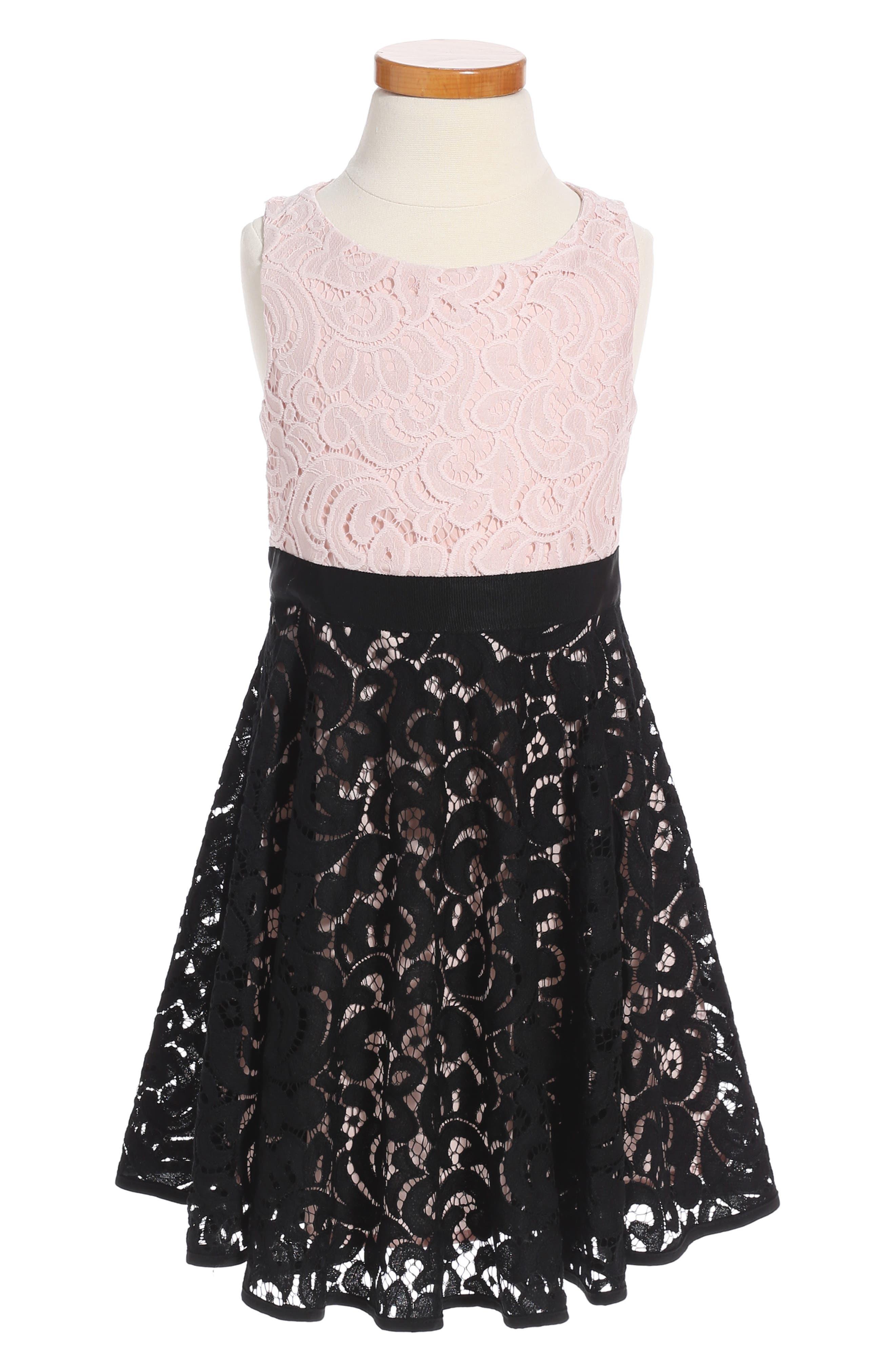 Lace Combo Dress,                             Main thumbnail 1, color,                             Black Multi