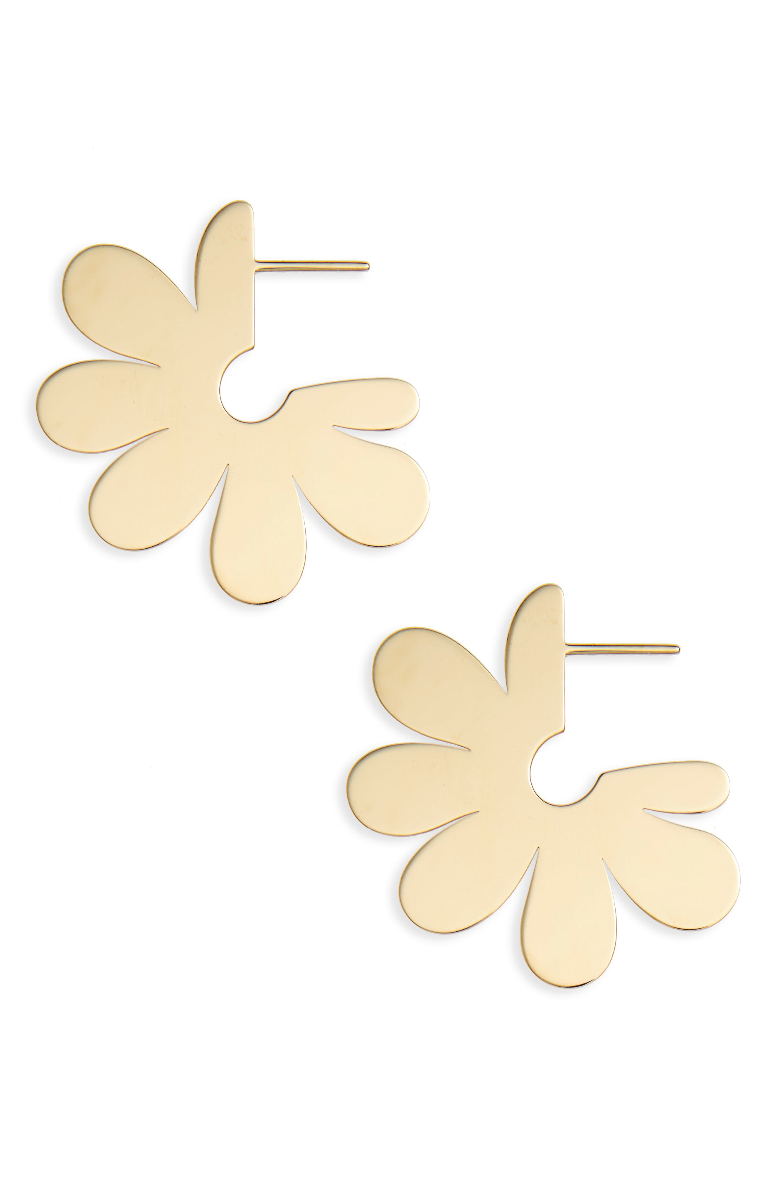 Small Solid Flower Hoop Earrings,                         Main,                         color, Gold