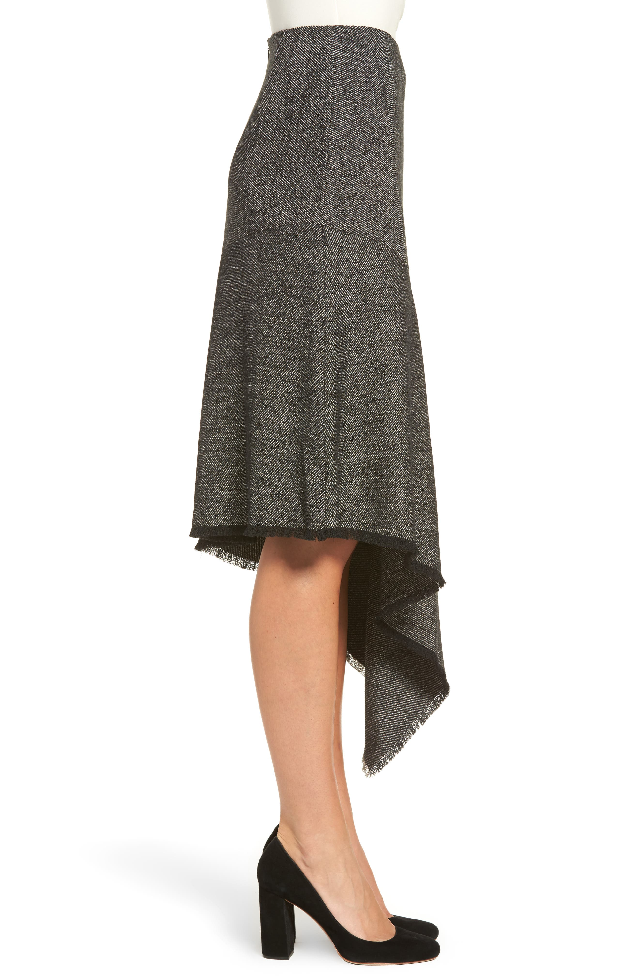Asymmetrical Tweed Skirt,                             Alternate thumbnail 3, color,                             Black/ White