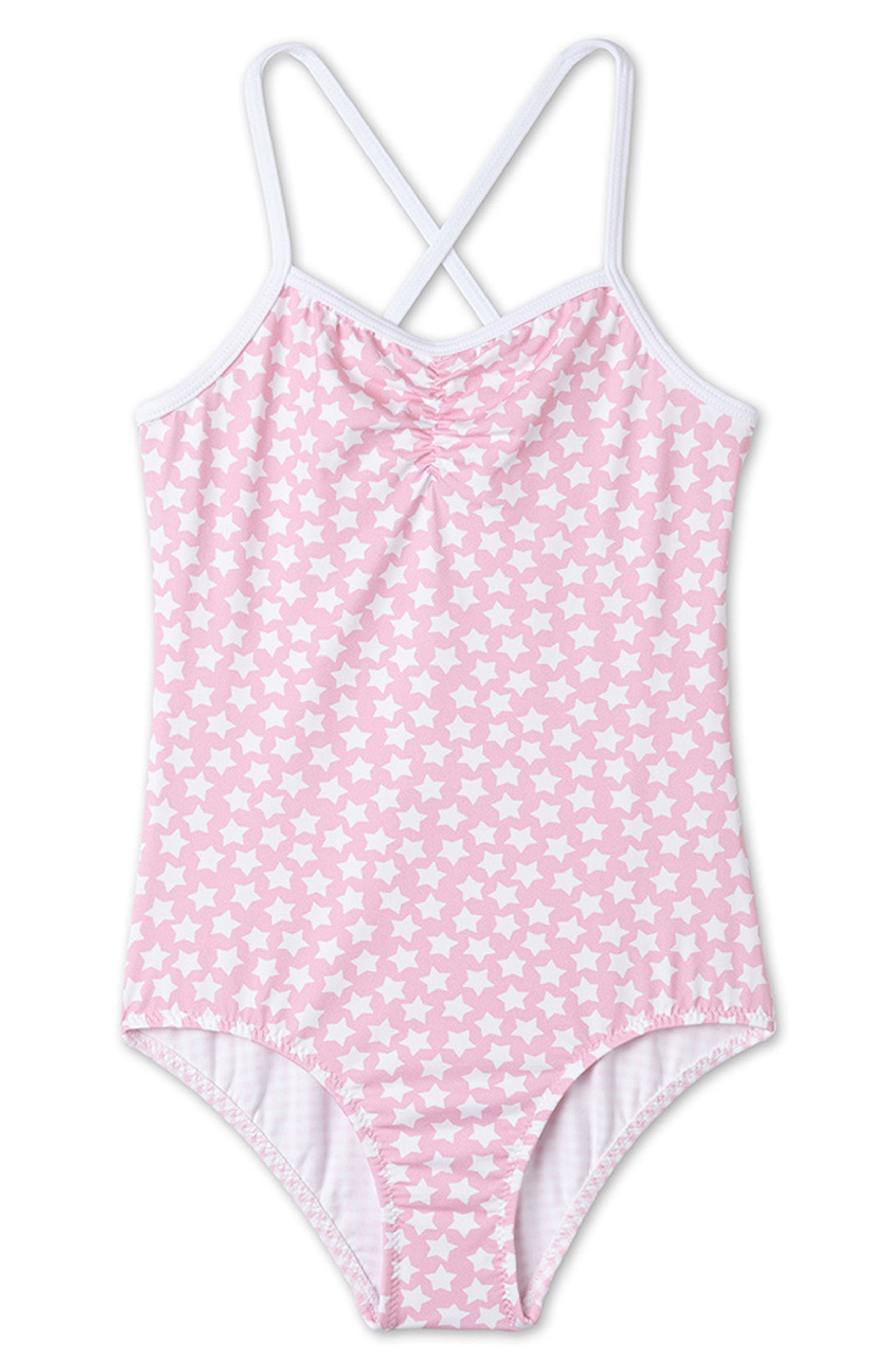 Pink Star Print One-Piece Swimsuit,                             Main thumbnail 1, color,                             Pink