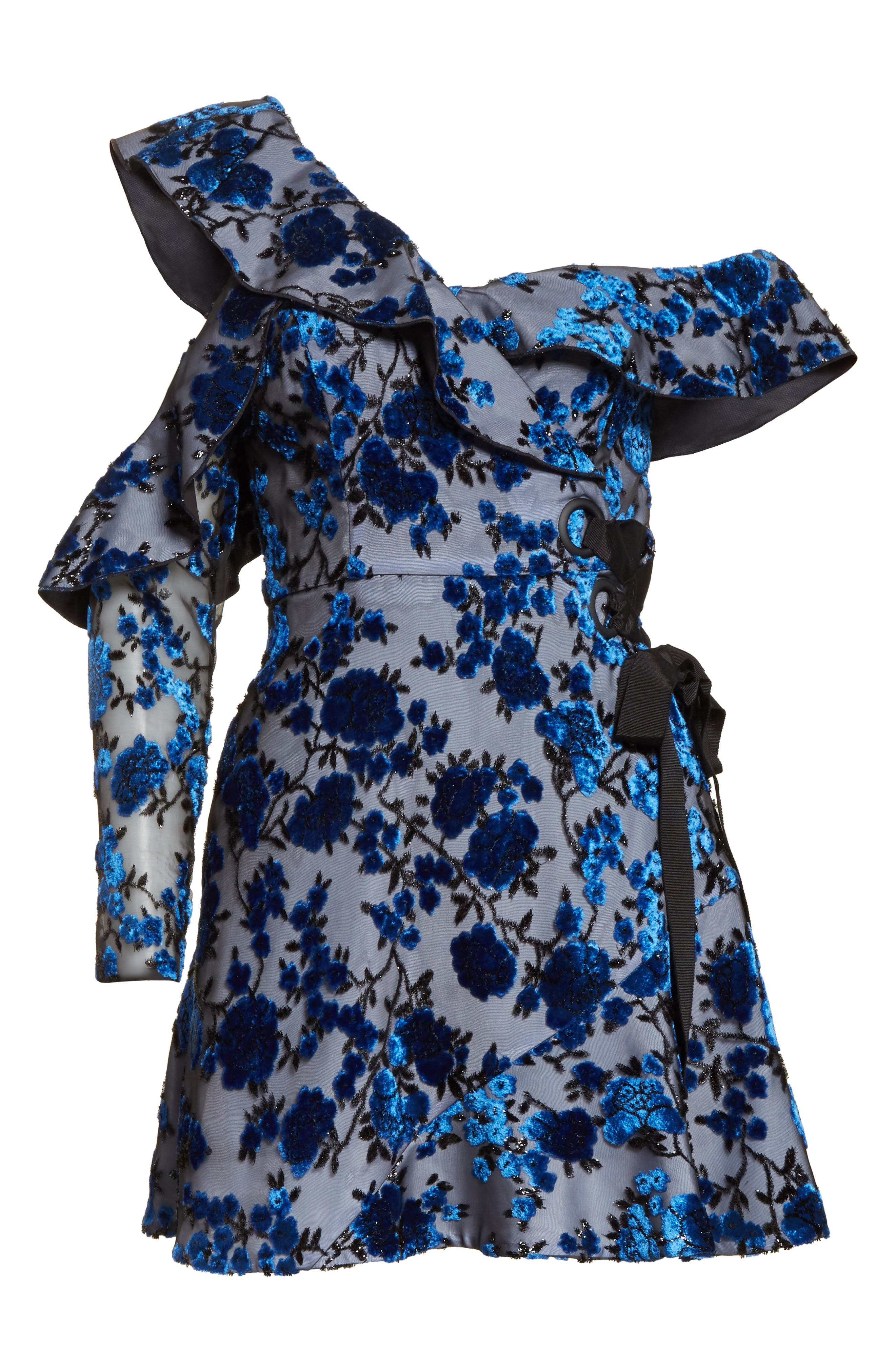 Velvet Devoré Minidress,                             Alternate thumbnail 6, color,                             Blue