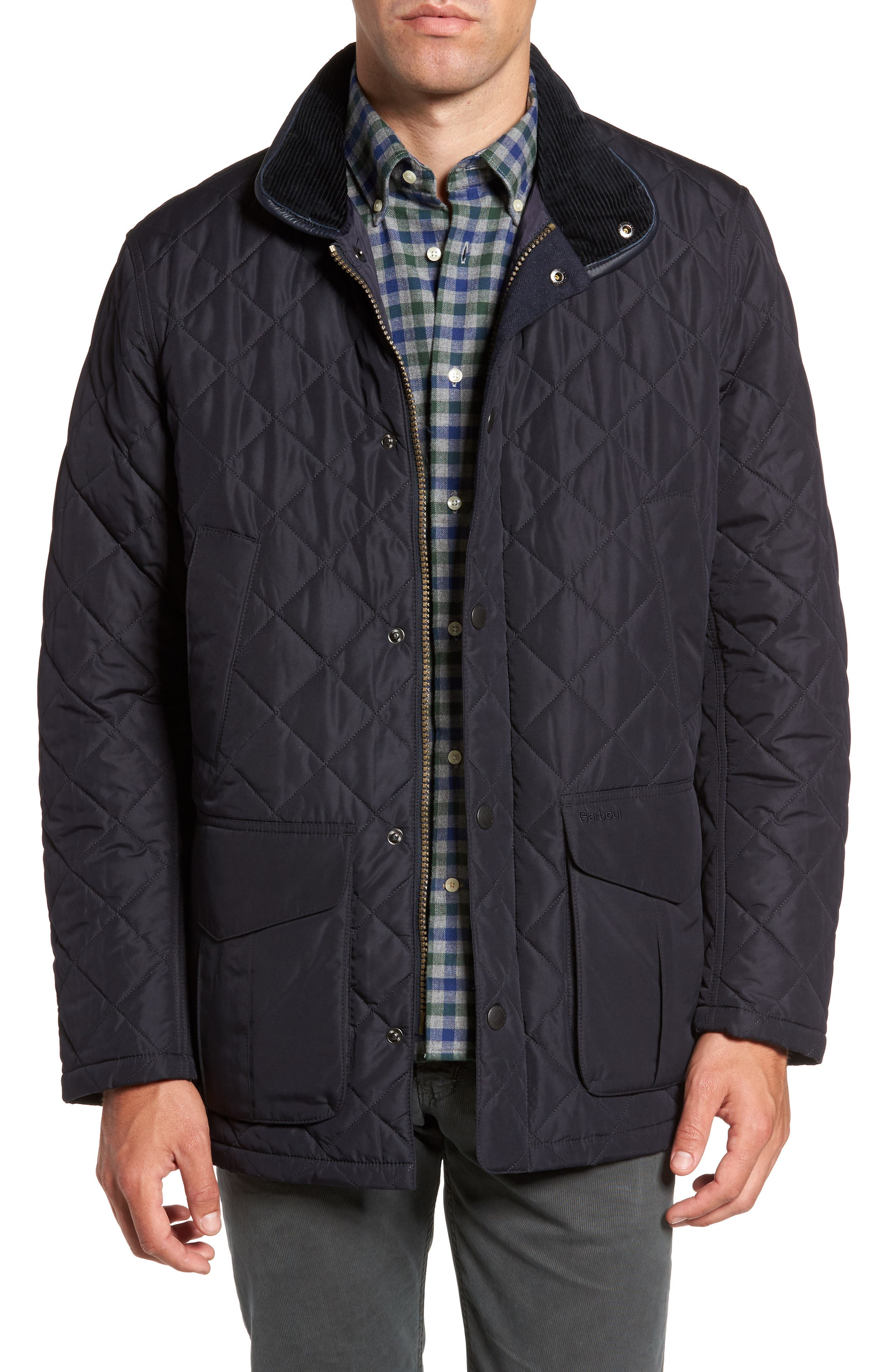 Devon Quilted Water-Resistant Jacket,                         Main,                         color, Navy
