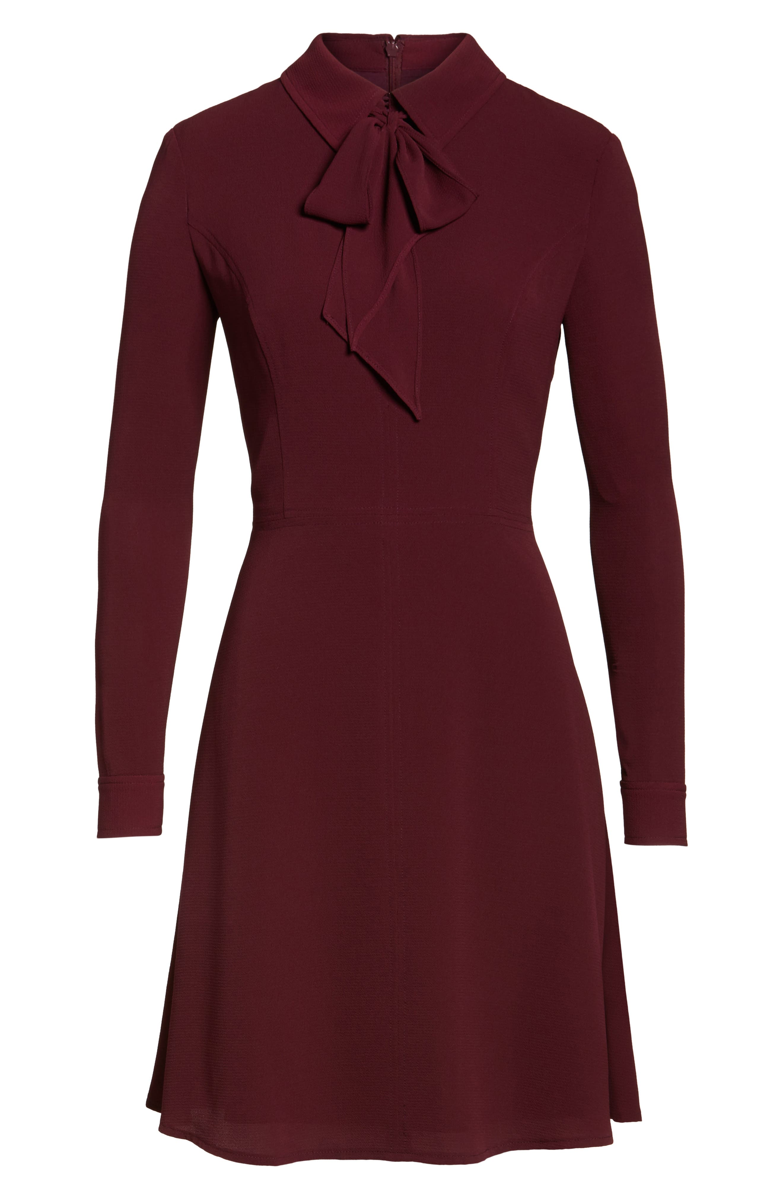 Crepe Bow Fit & Flare Dress,                             Alternate thumbnail 6, color,                             Wine