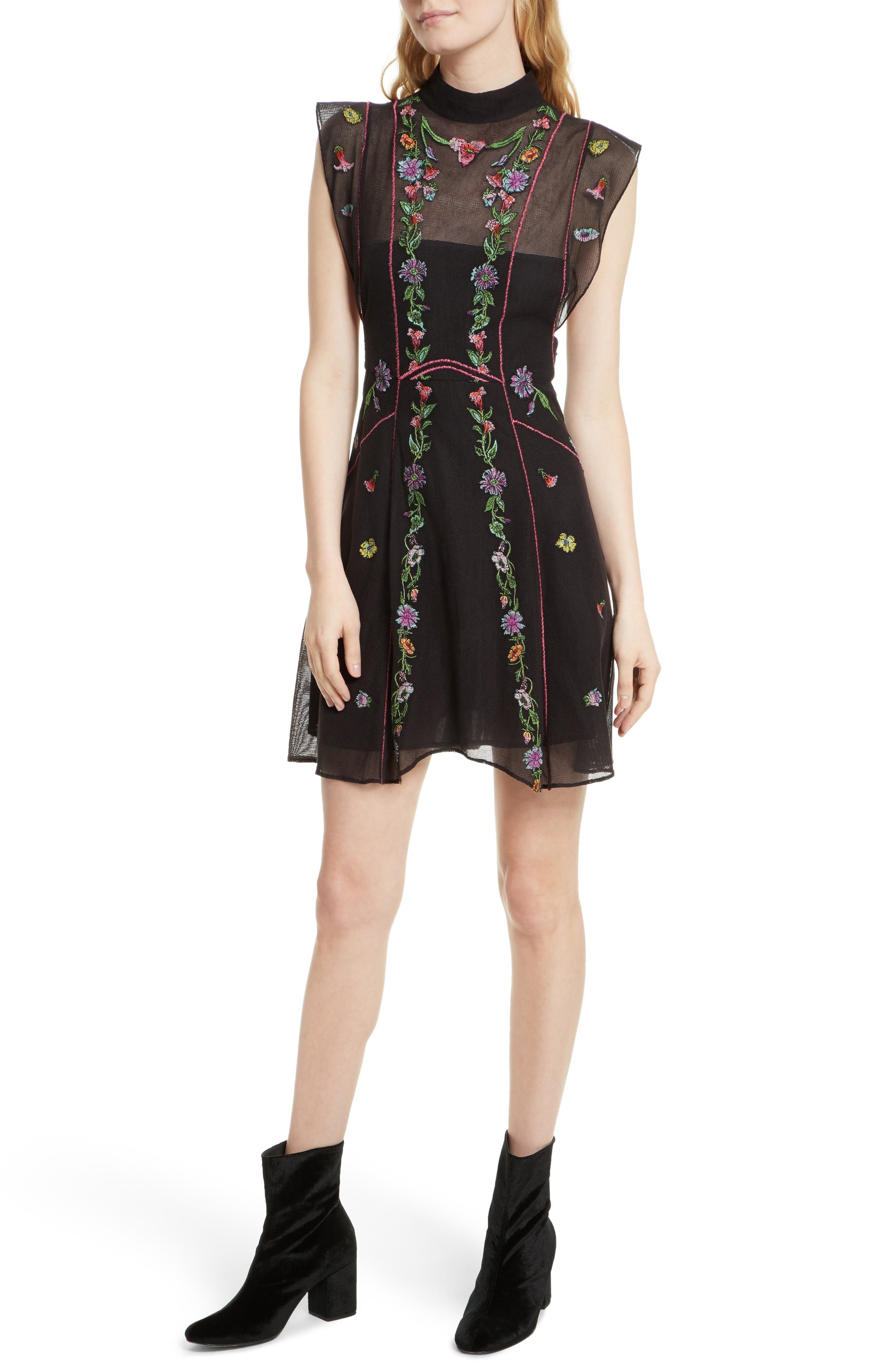 Free People Riviera Embroidered Minidress
