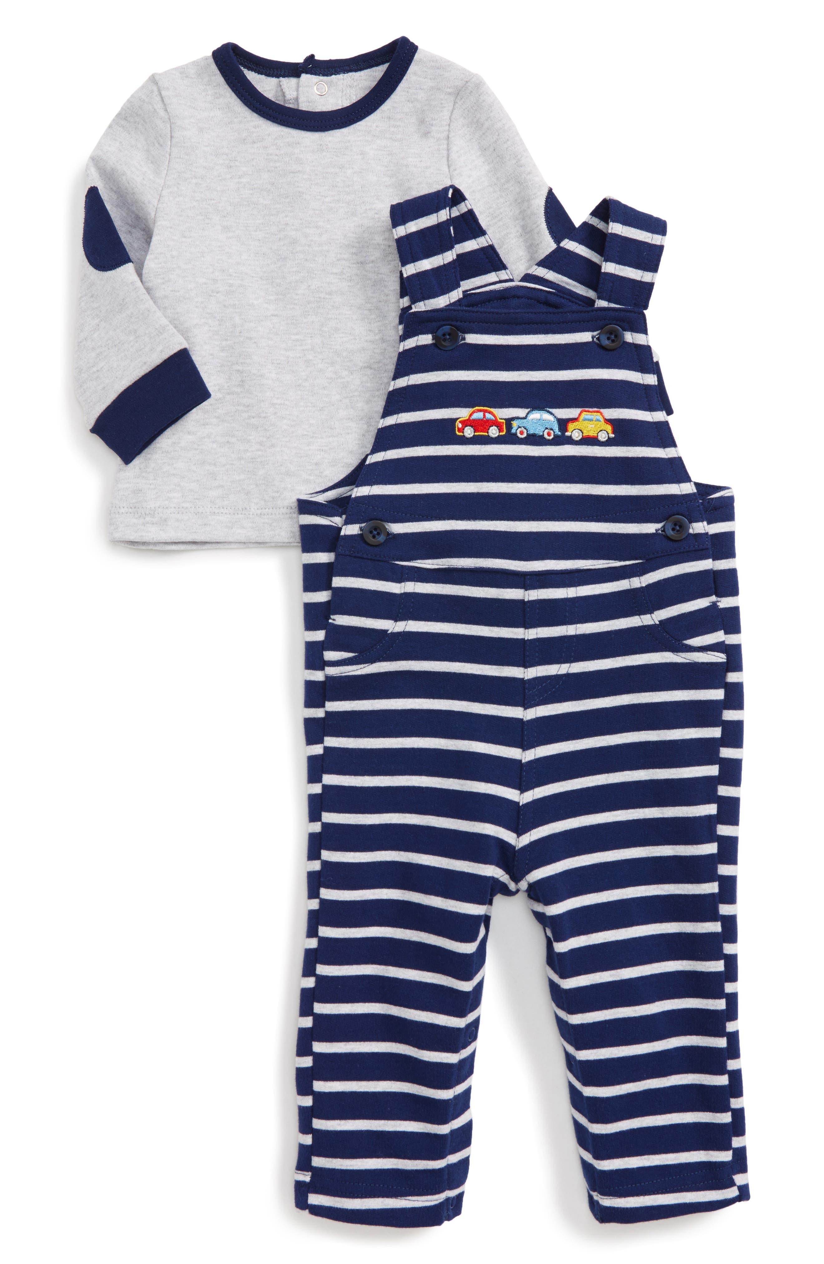 Alternate Image 1 Selected - Little Me Car T-Shirt & Overalls Set (Baby Boys)