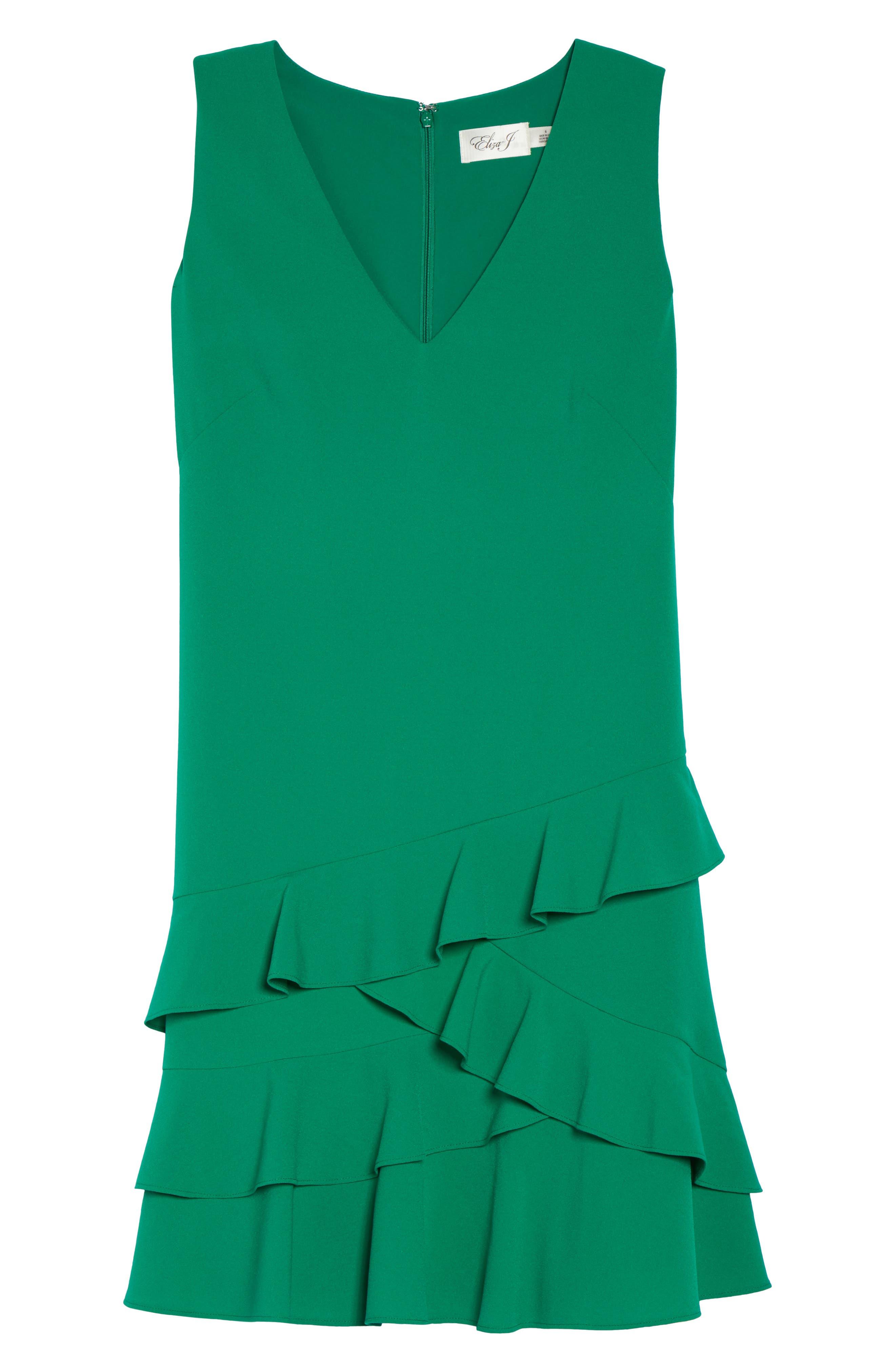 Ruffle Hem Shift Dress,                             Alternate thumbnail 6, color,                             Green