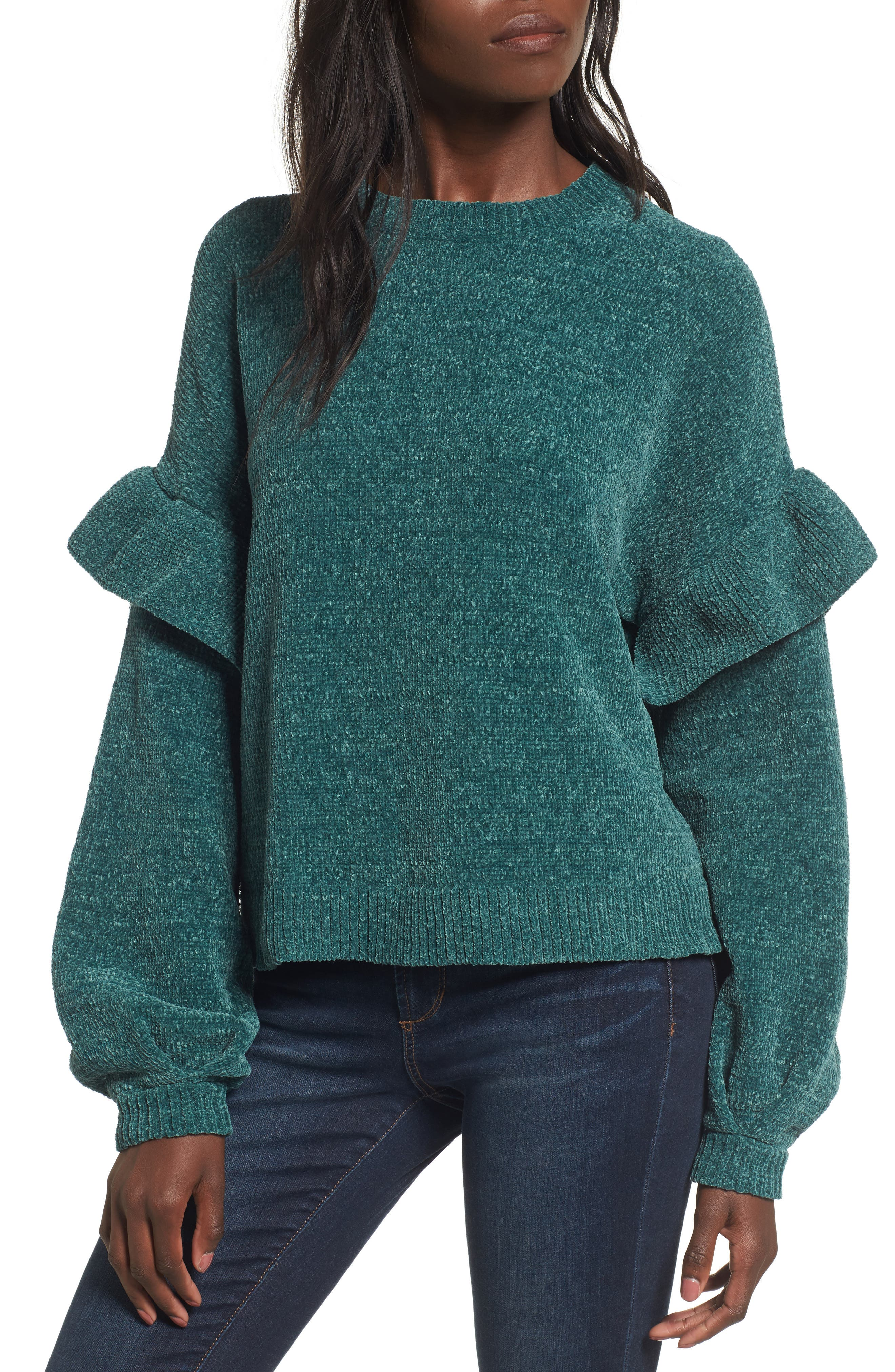 Ruffle Chenille Sweater,                         Main,                         color, Green Jasper