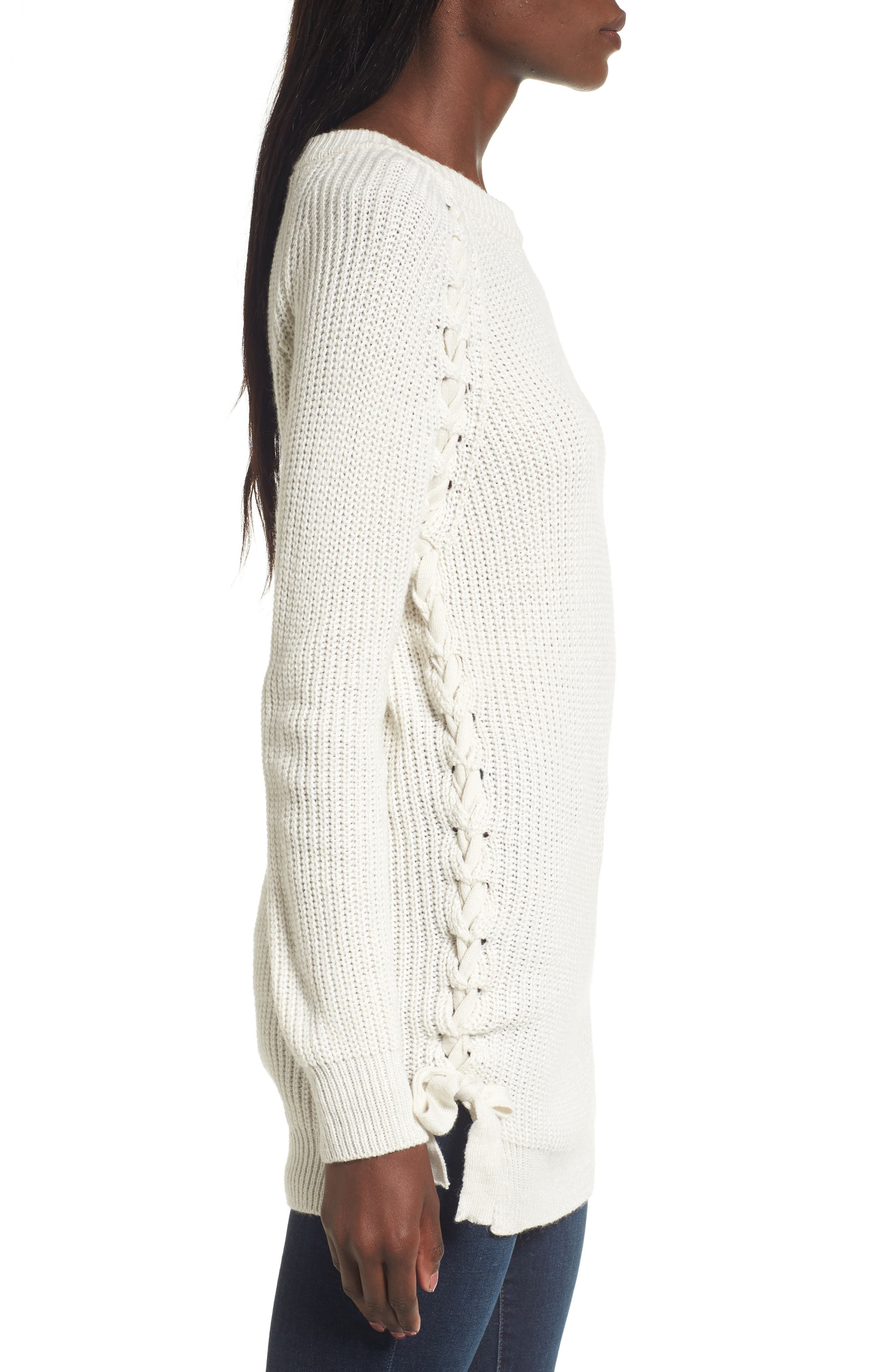 Reina Lace-Up Side Sweater,                             Alternate thumbnail 4, color,                             Ivory