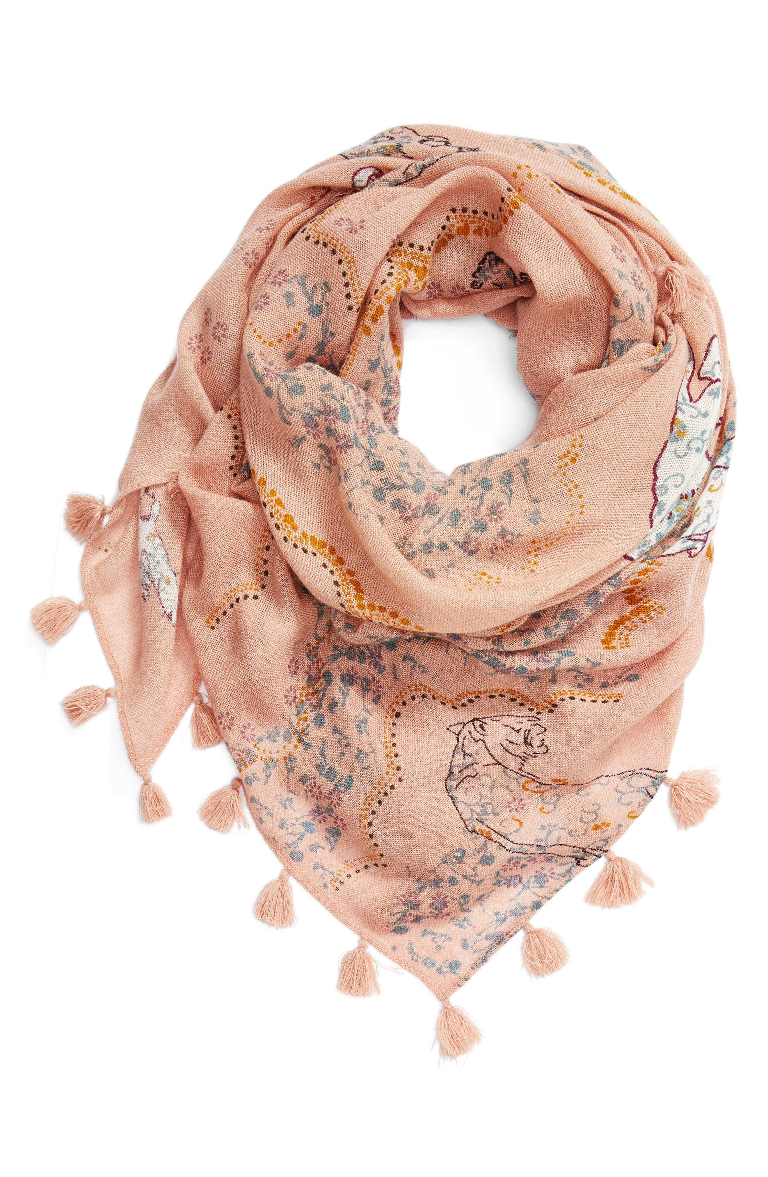 Tiger Scarf,                             Alternate thumbnail 3, color,                             Pink Combo