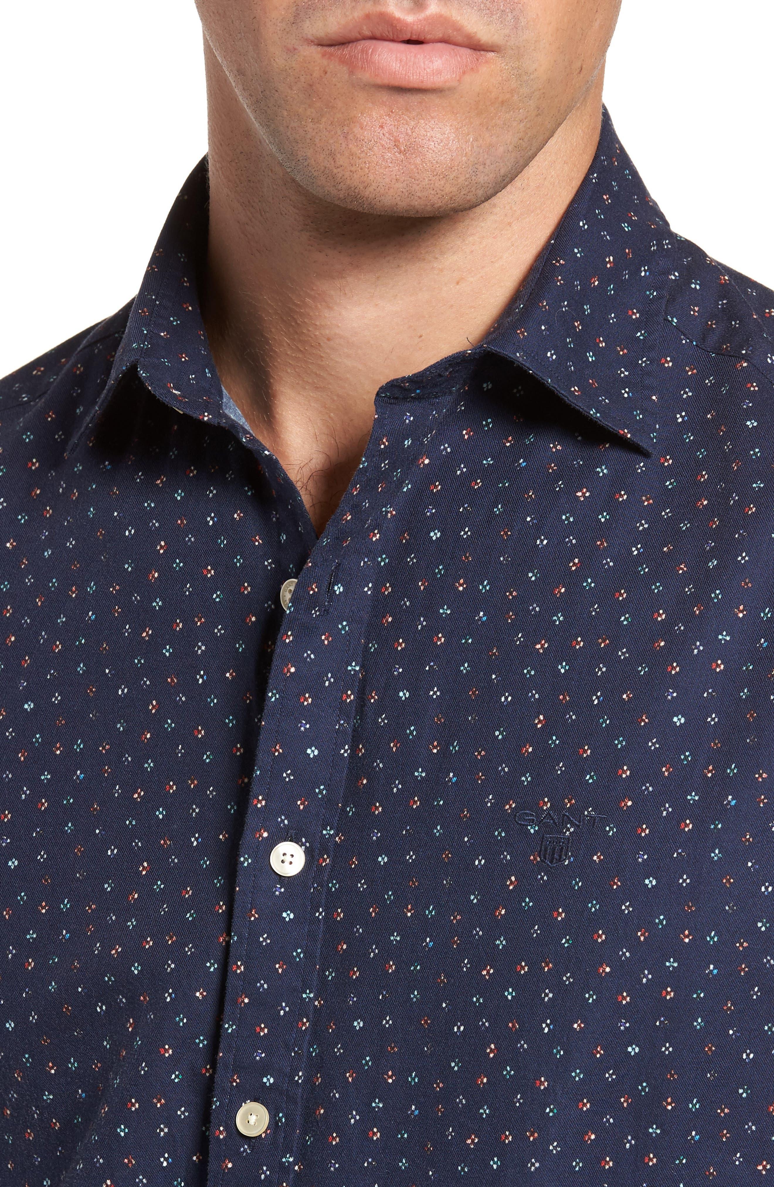 Regular Fit Floral Print Sport Shirt,                             Alternate thumbnail 4, color,                             Evening Blue