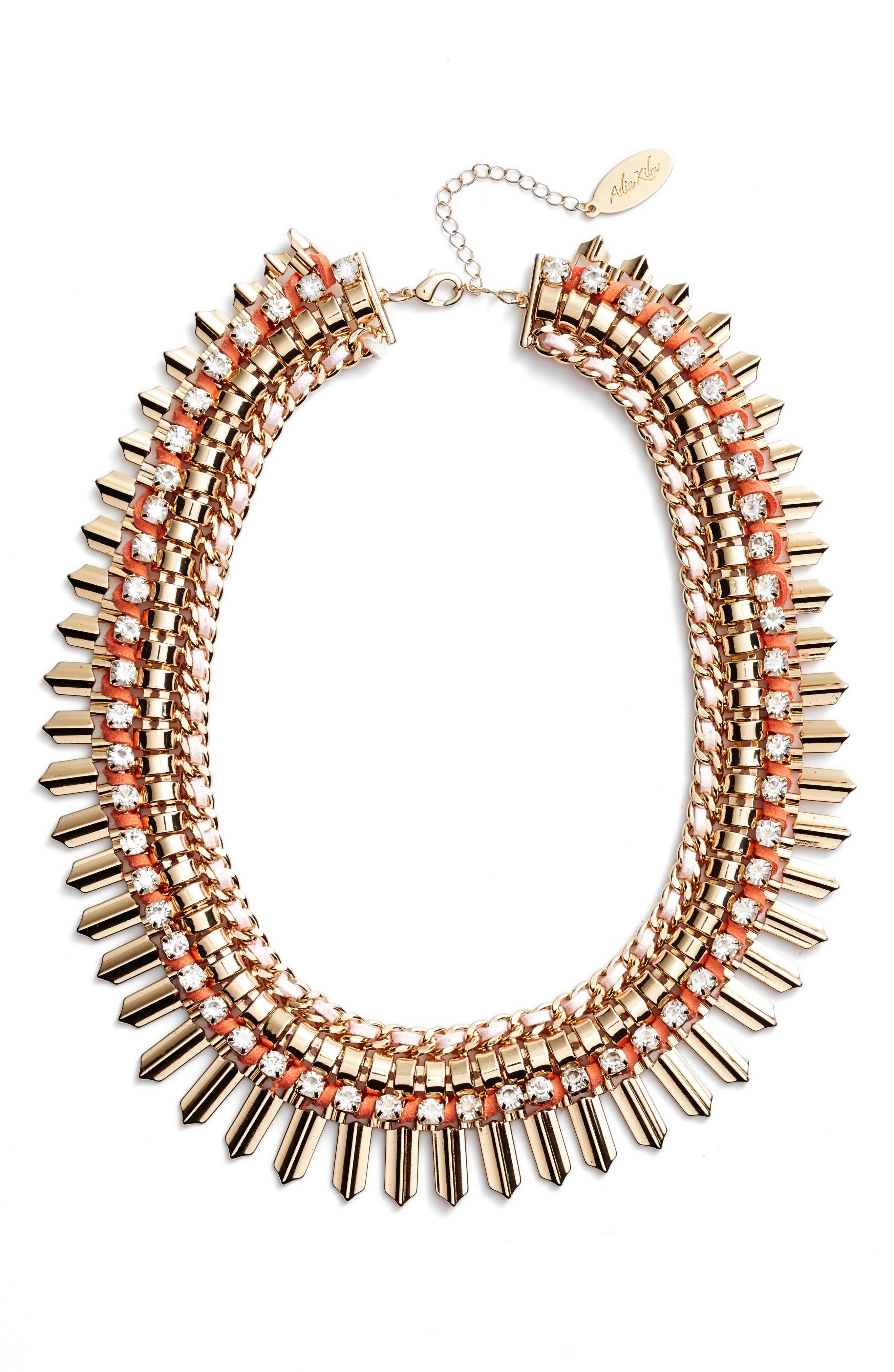 Crystal & Suede Statement Necklace,                             Main thumbnail 1, color,                             Pink