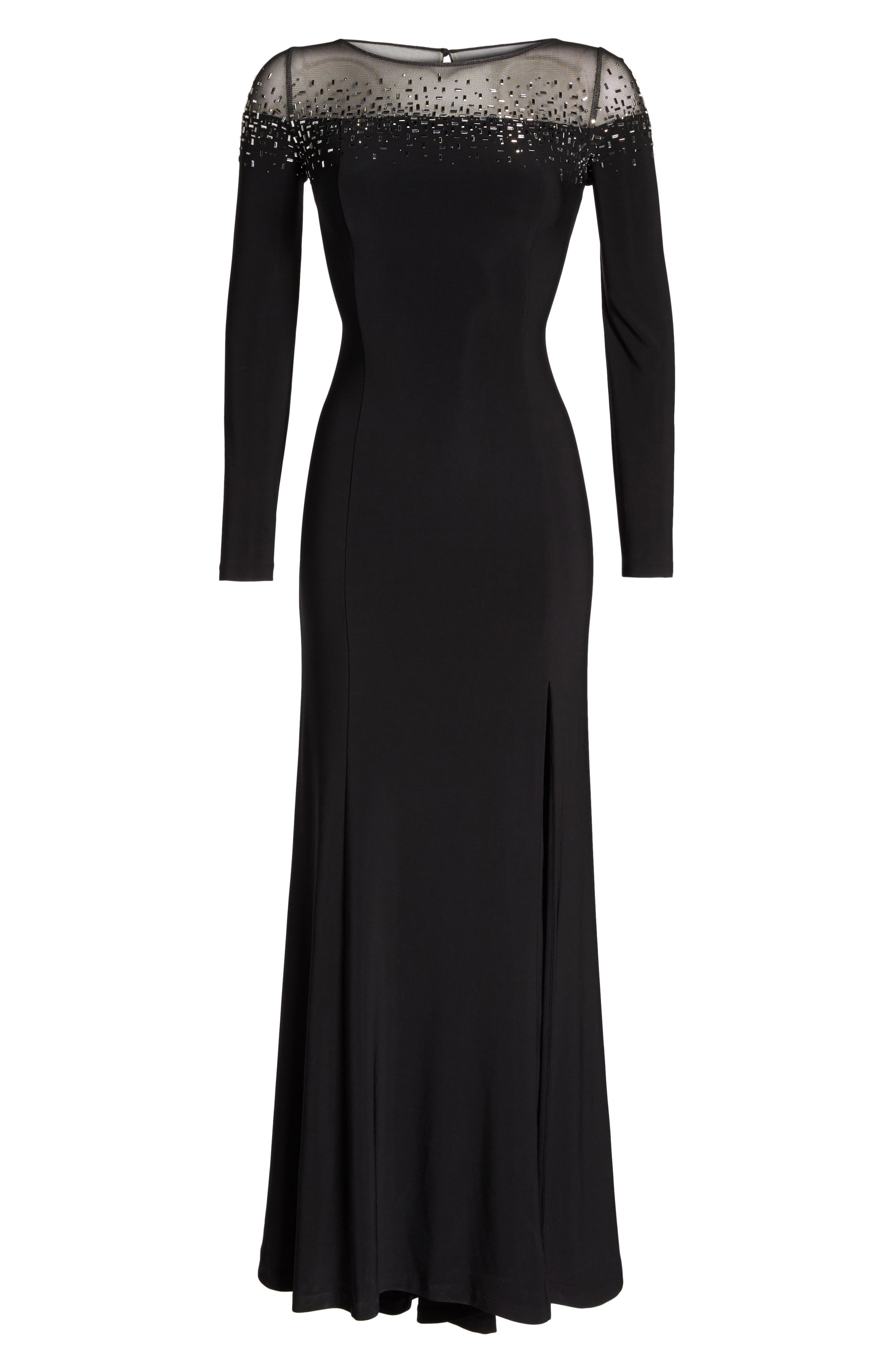 Embellished Jersey Gown,                             Alternate thumbnail 4, color,                             Black