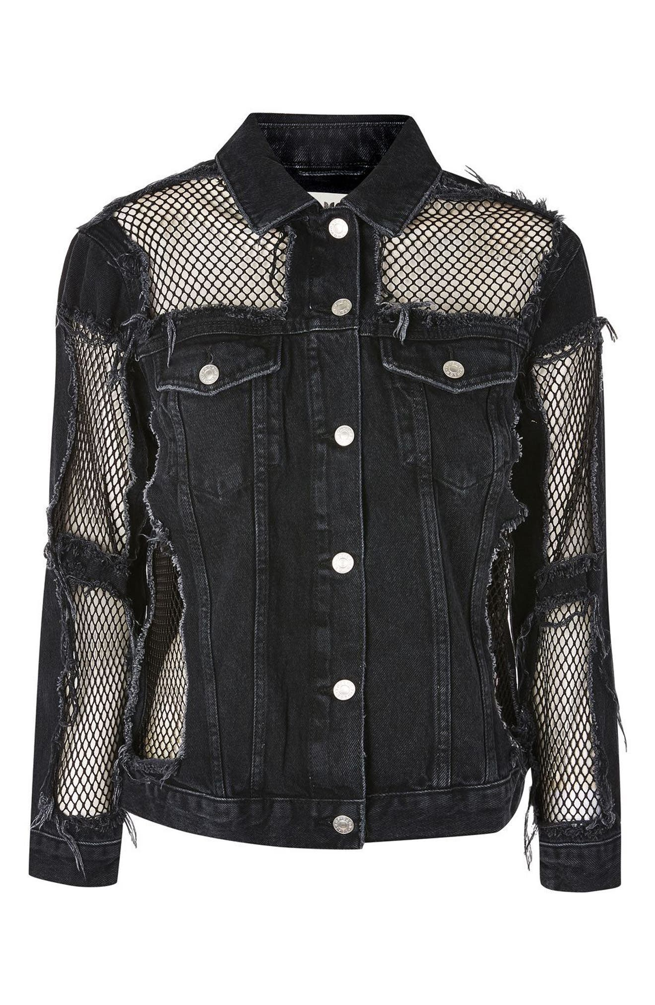 Alternate Image 4  - Topshop Fishnet Detail Oversize Denim Jacket