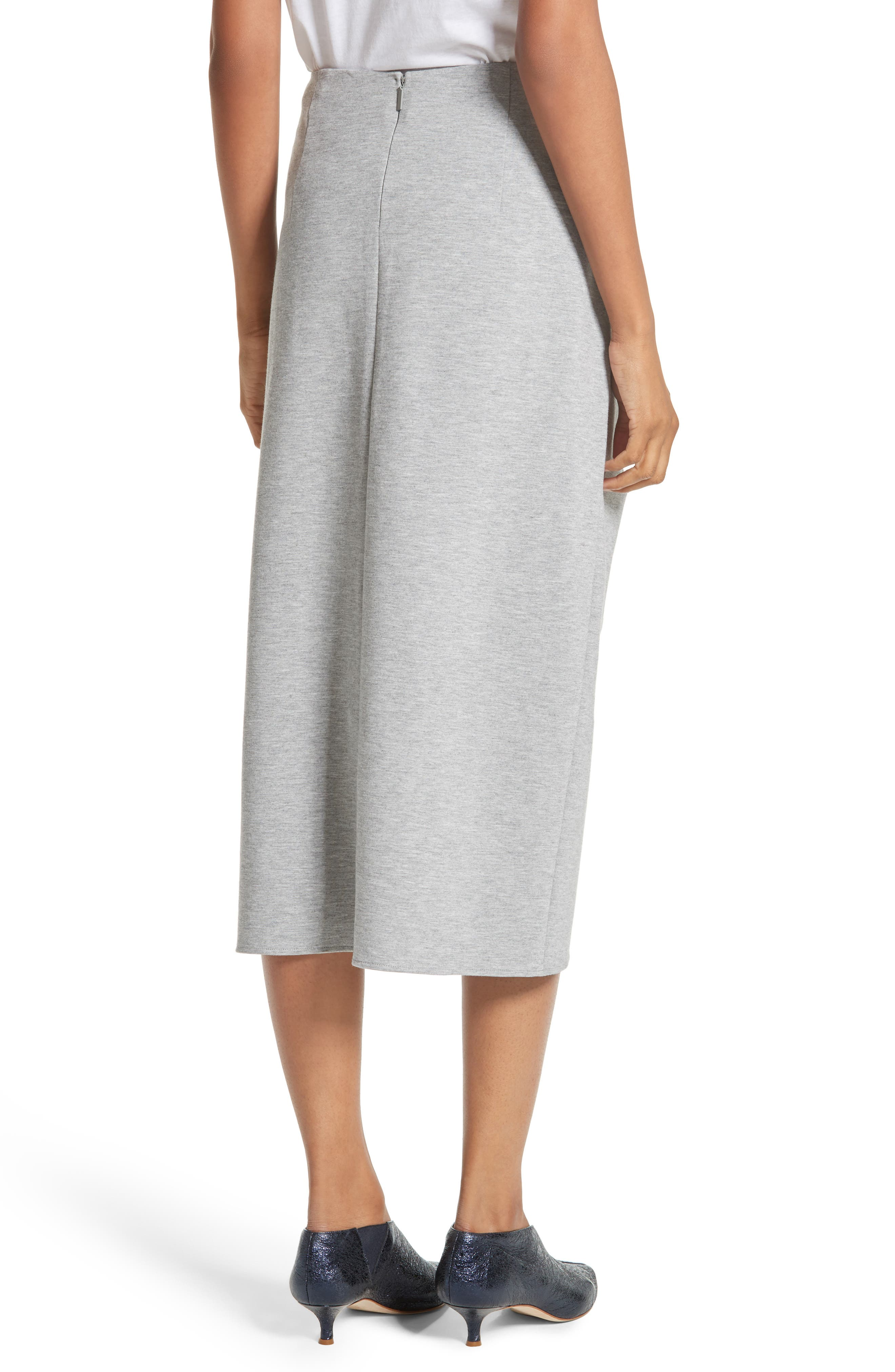Ruched Midi Skirt,                             Alternate thumbnail 2, color,                             Heather Grey