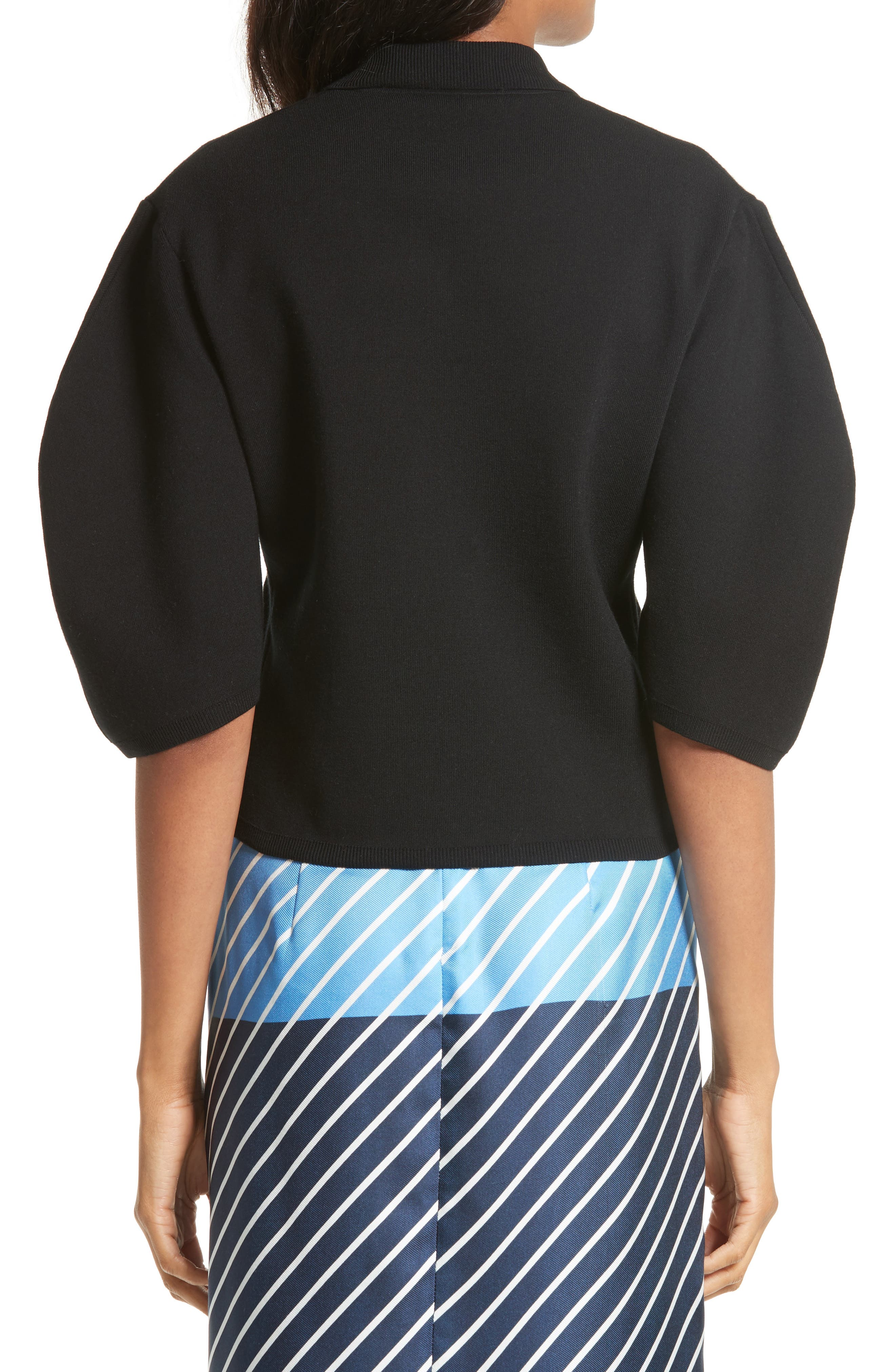 Sculpted Sleeve Wool Blend Polo Sweater,                             Alternate thumbnail 2, color,                             Black