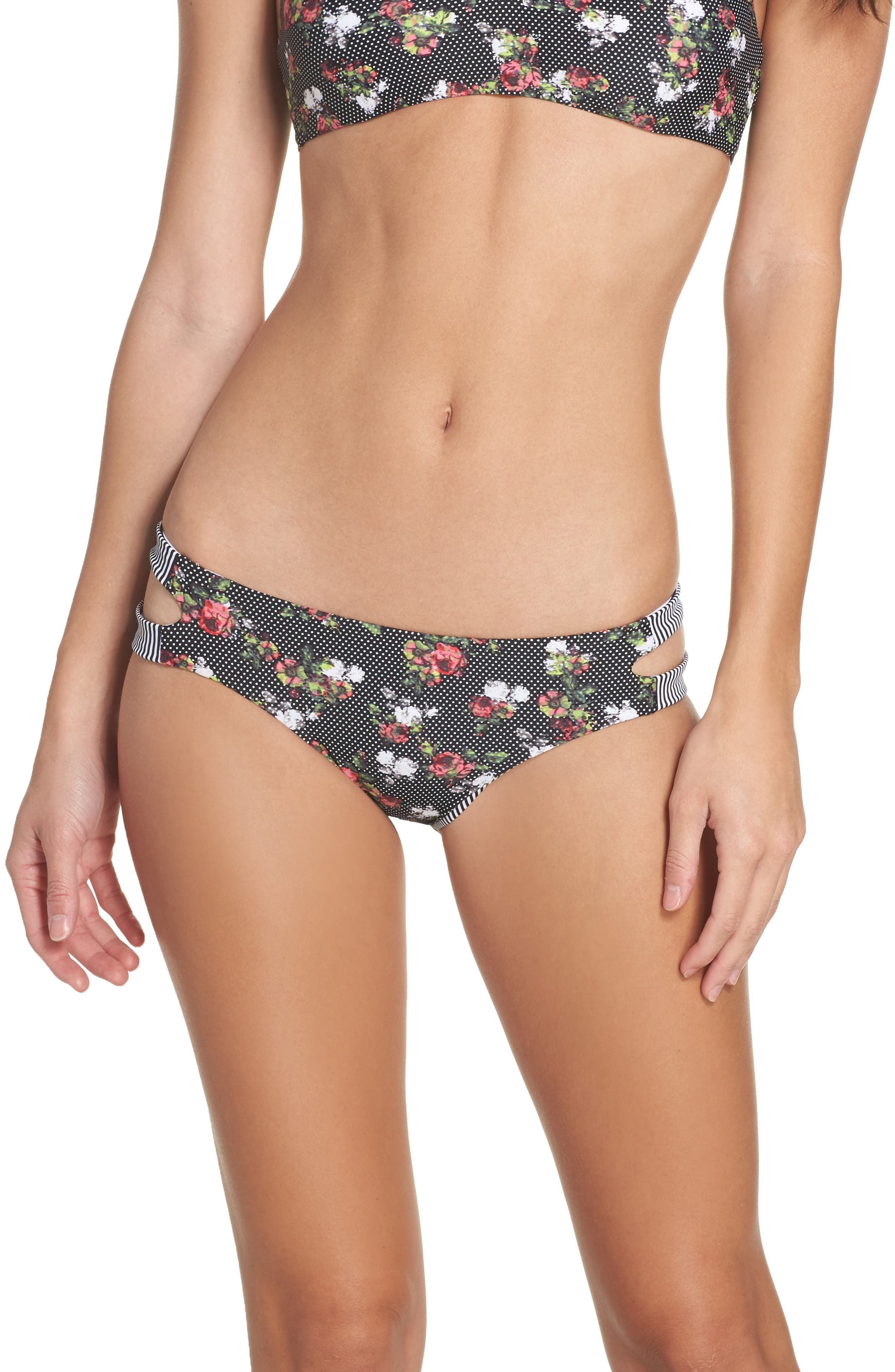 Reversible Cutout Bikini Bottoms,                             Main thumbnail 1, color,                             Black Multi