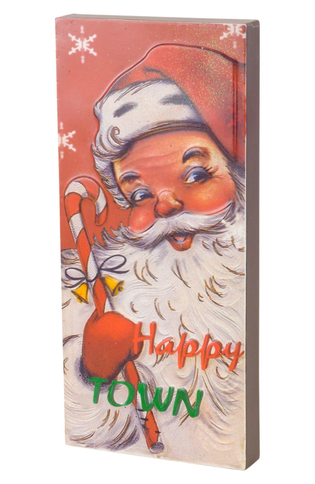 Happy Town Santa Sign,                         Main,                         color, Red