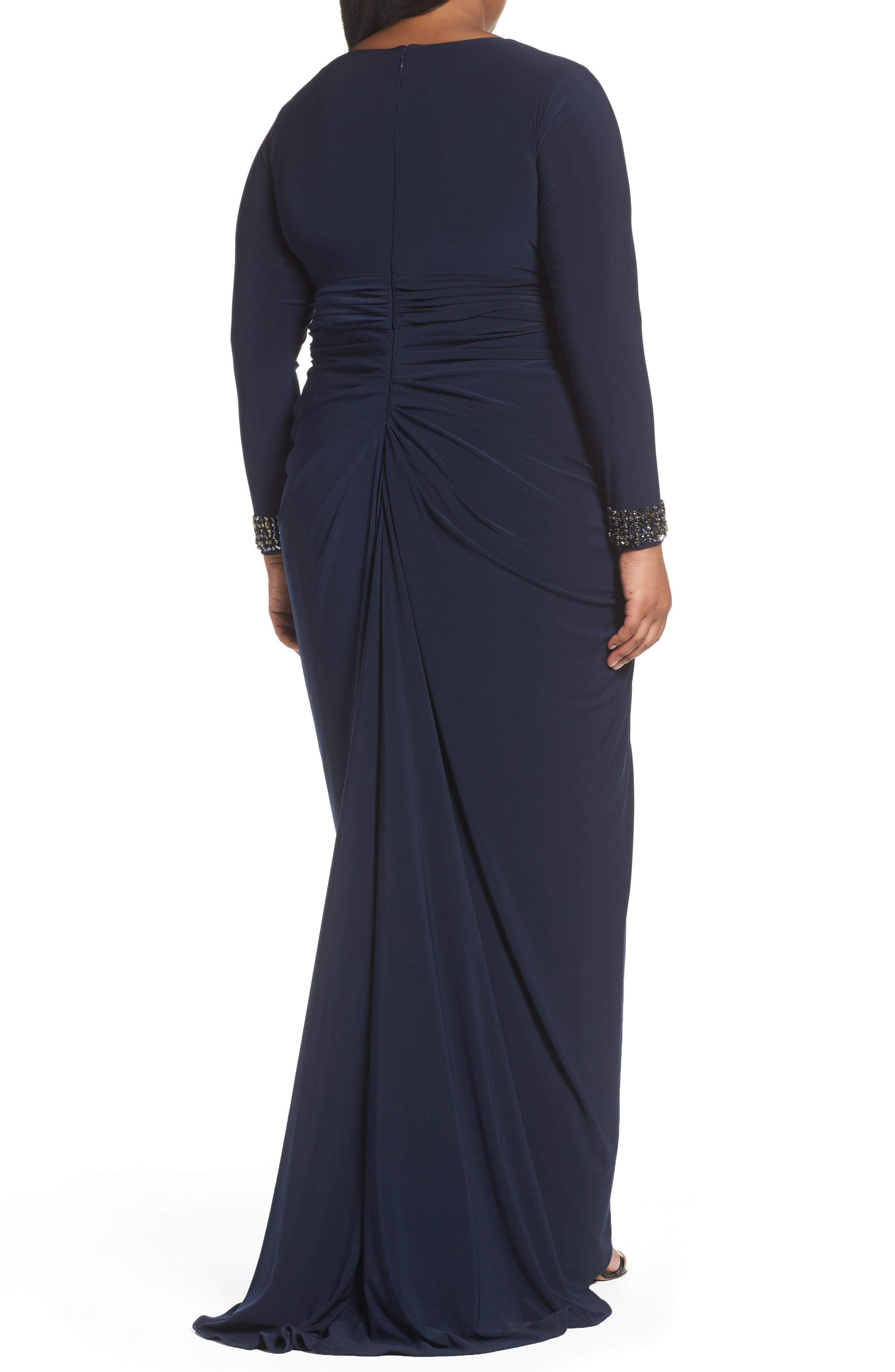 Wrap Front Jersey Gown,                             Alternate thumbnail 2, color,                             Midnight