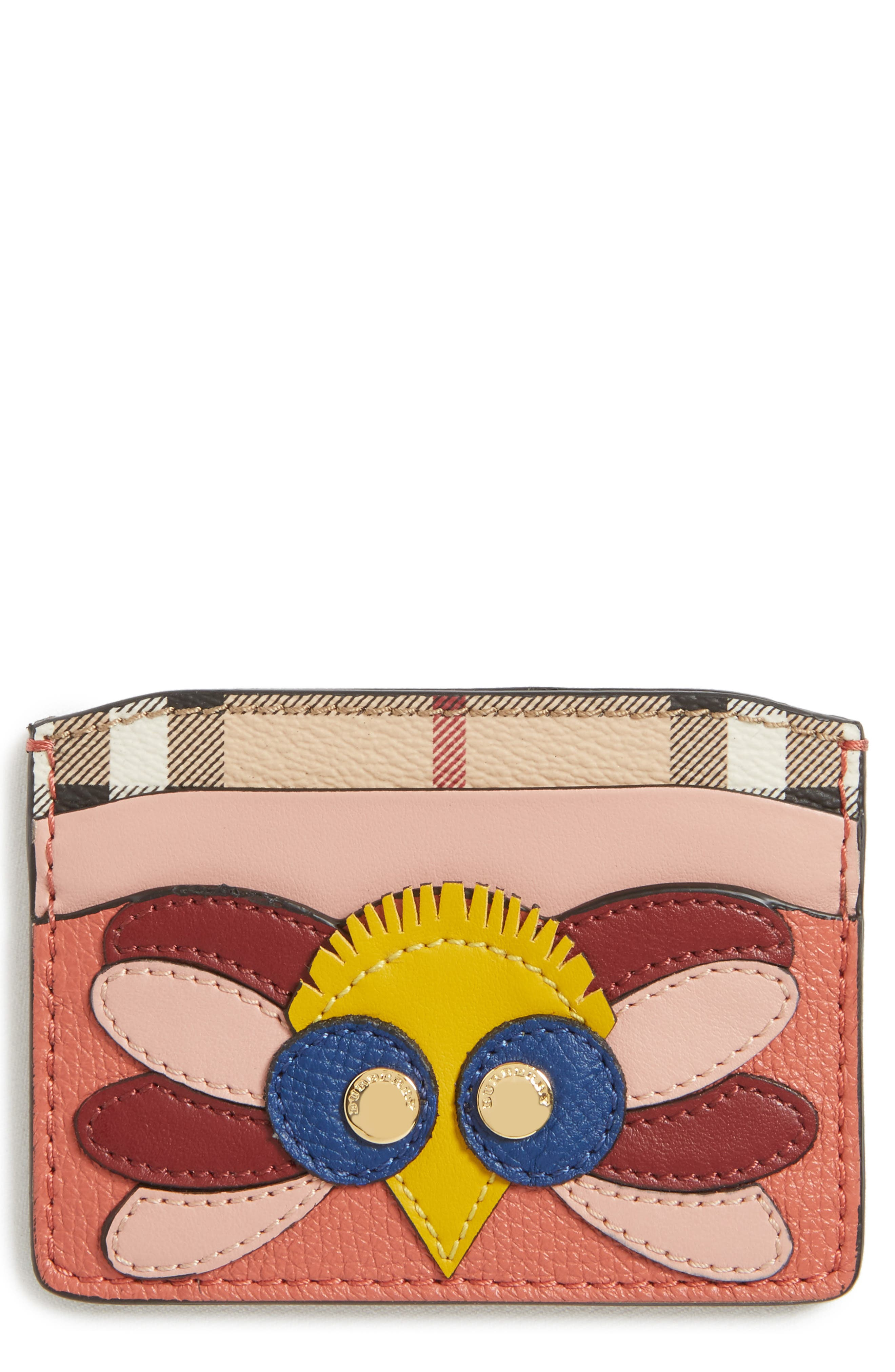 Izzy Beasts Owl Leather Card Case,                         Main,                         color, Cinnamon Red