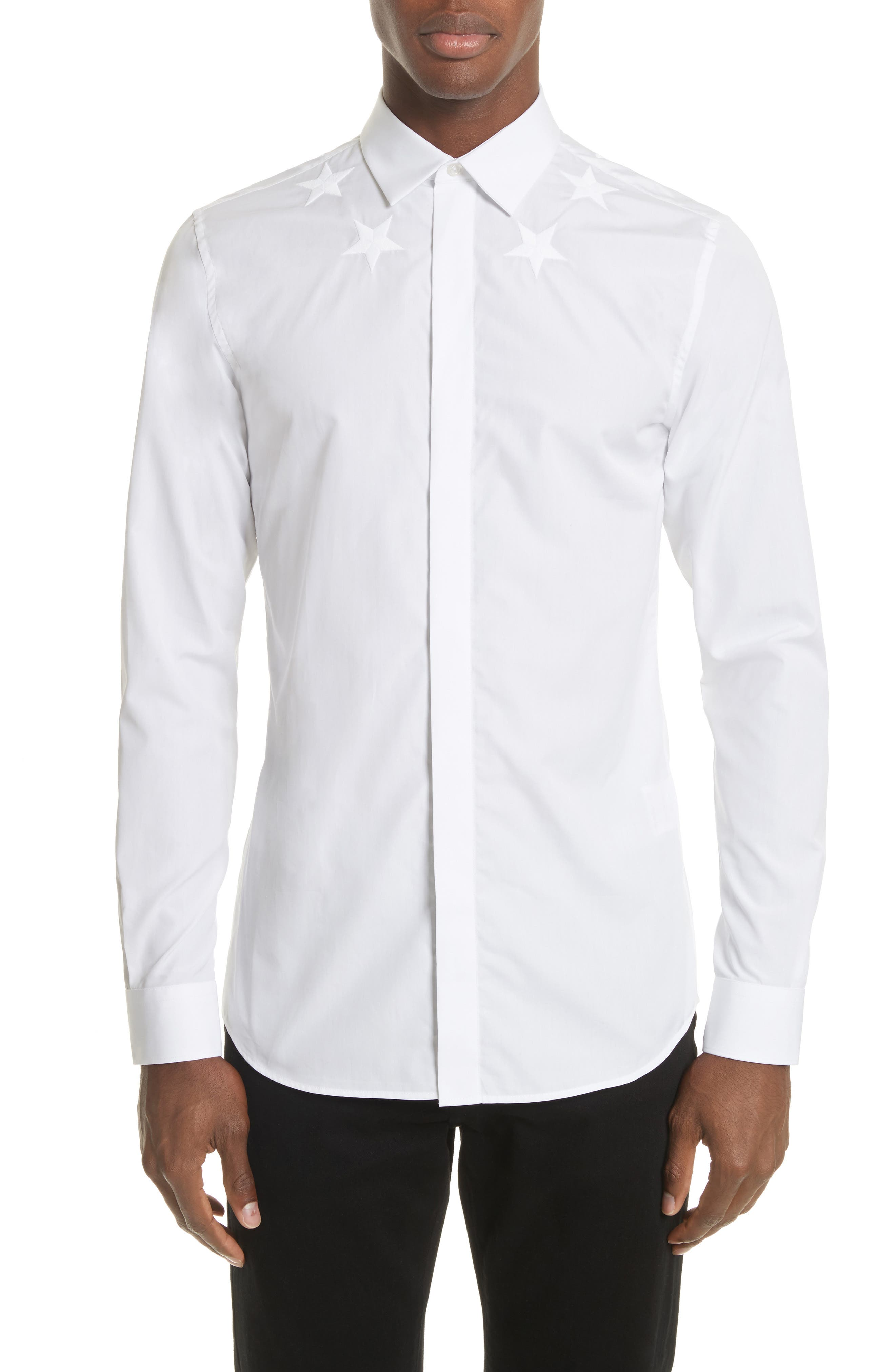 Embroidered Star Dress Shirt,                         Main,                         color, White