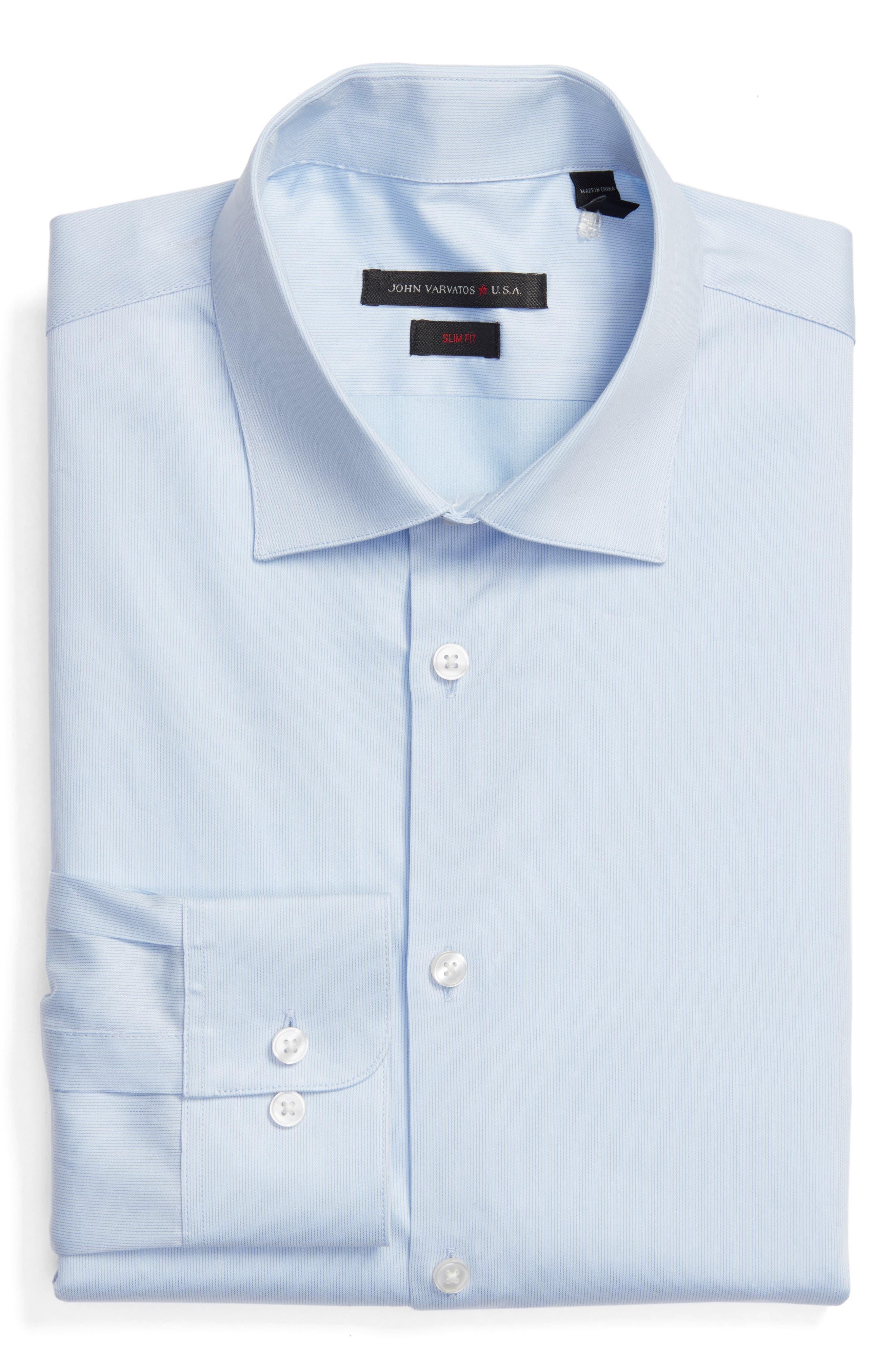Slim Fit Stripe Stretch Dress Shirt,                         Main,                         color, Cornflower