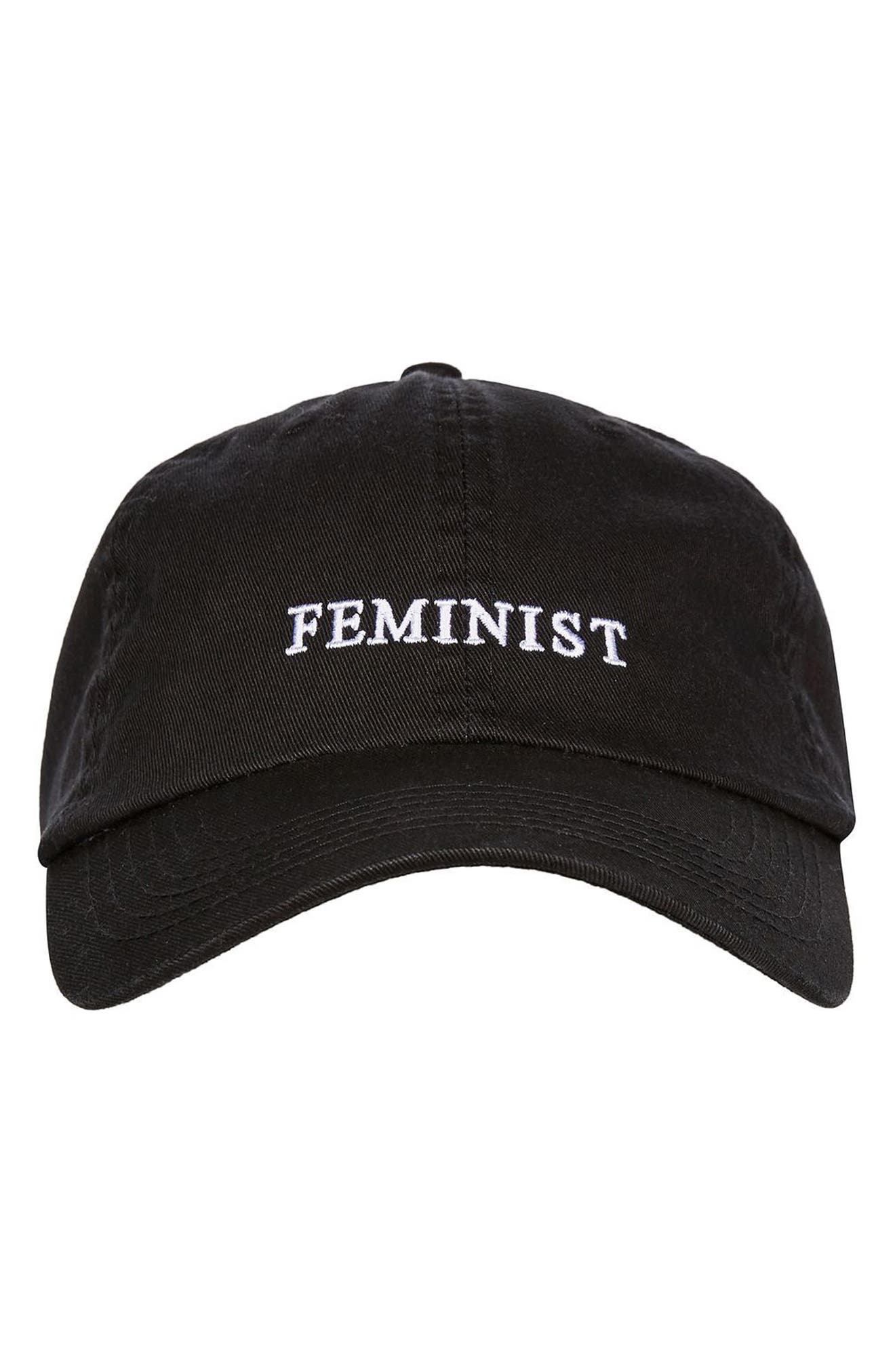 Feminist Baseball Cap,                             Alternate thumbnail 2, color,                             Black