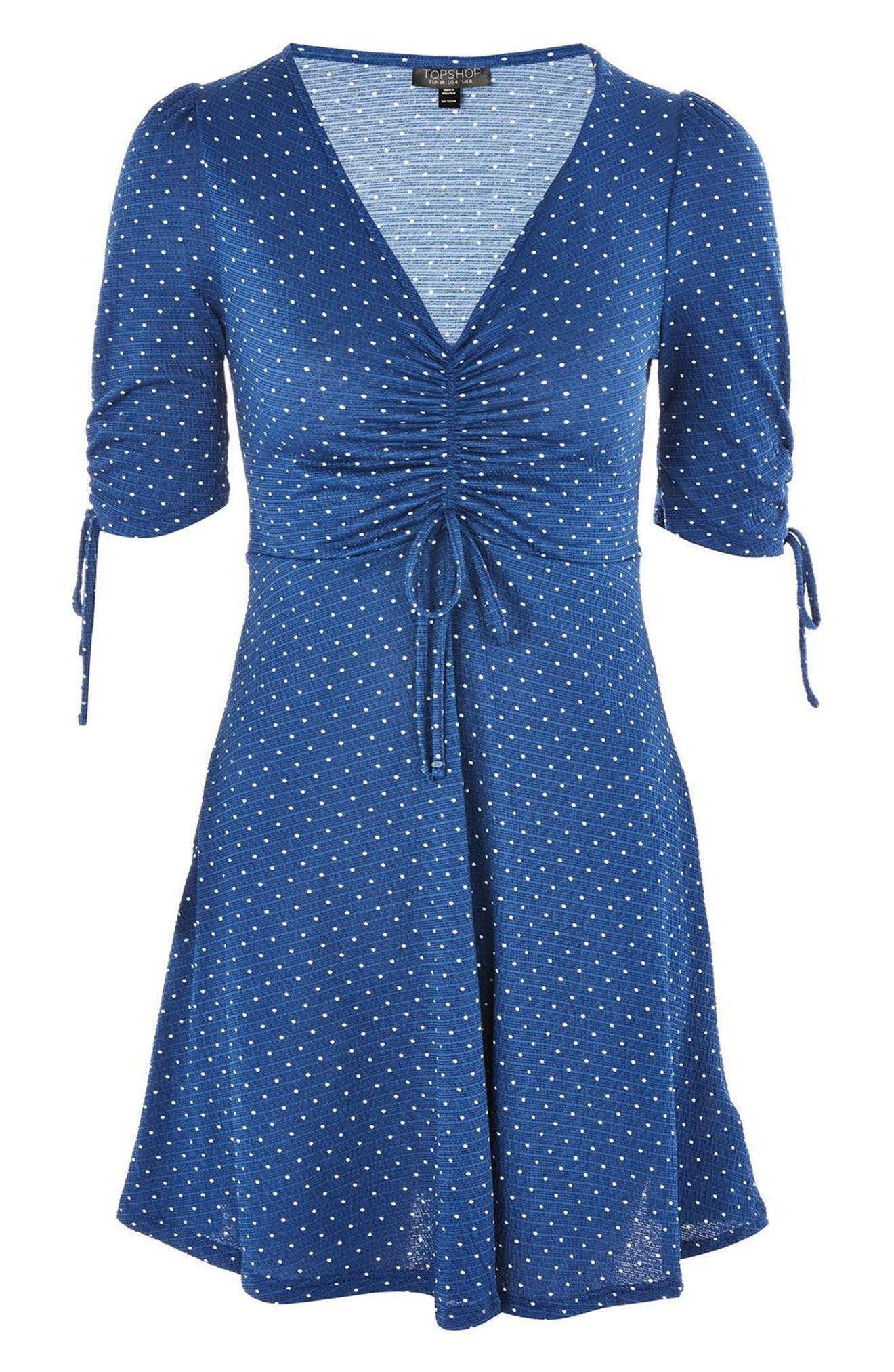Polka Dot Tea Dress,                             Alternate thumbnail 3, color,                             Navy Blue Multi