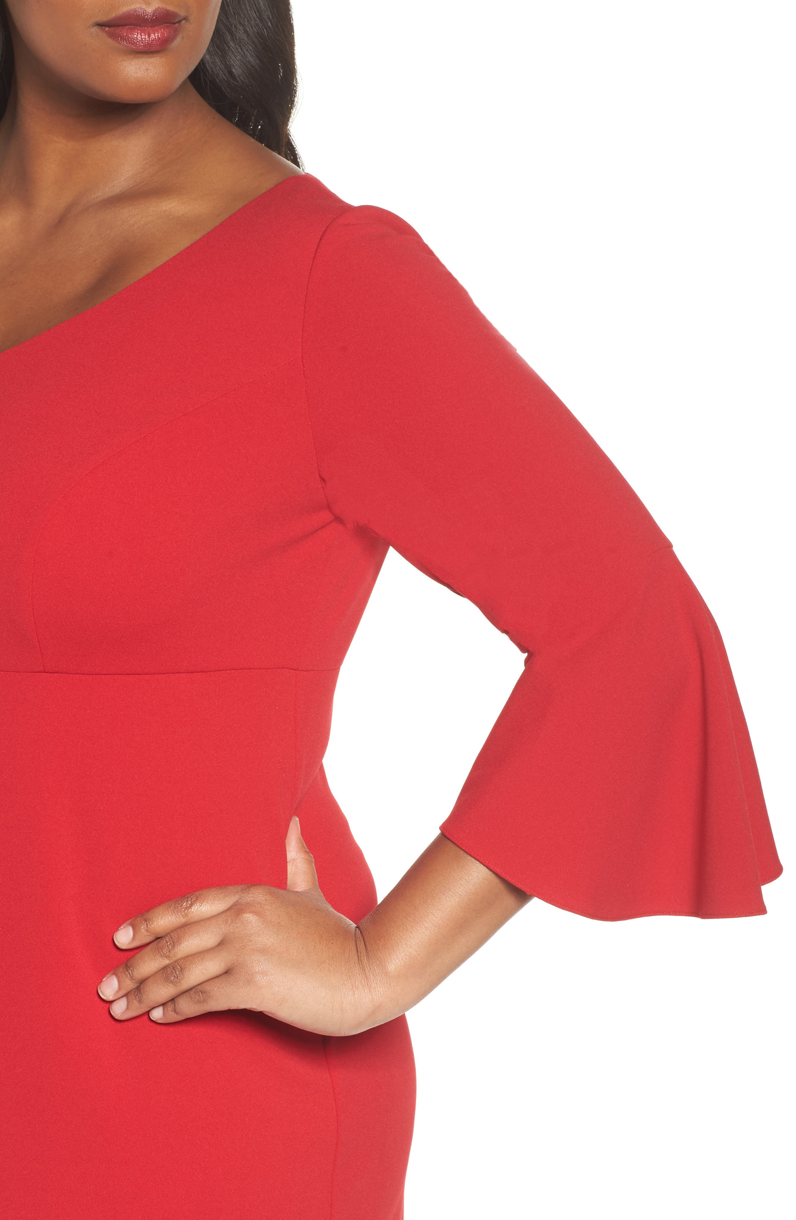 Bell Sleeve Sheath Dress,                             Alternate thumbnail 4, color,                             Apple Red