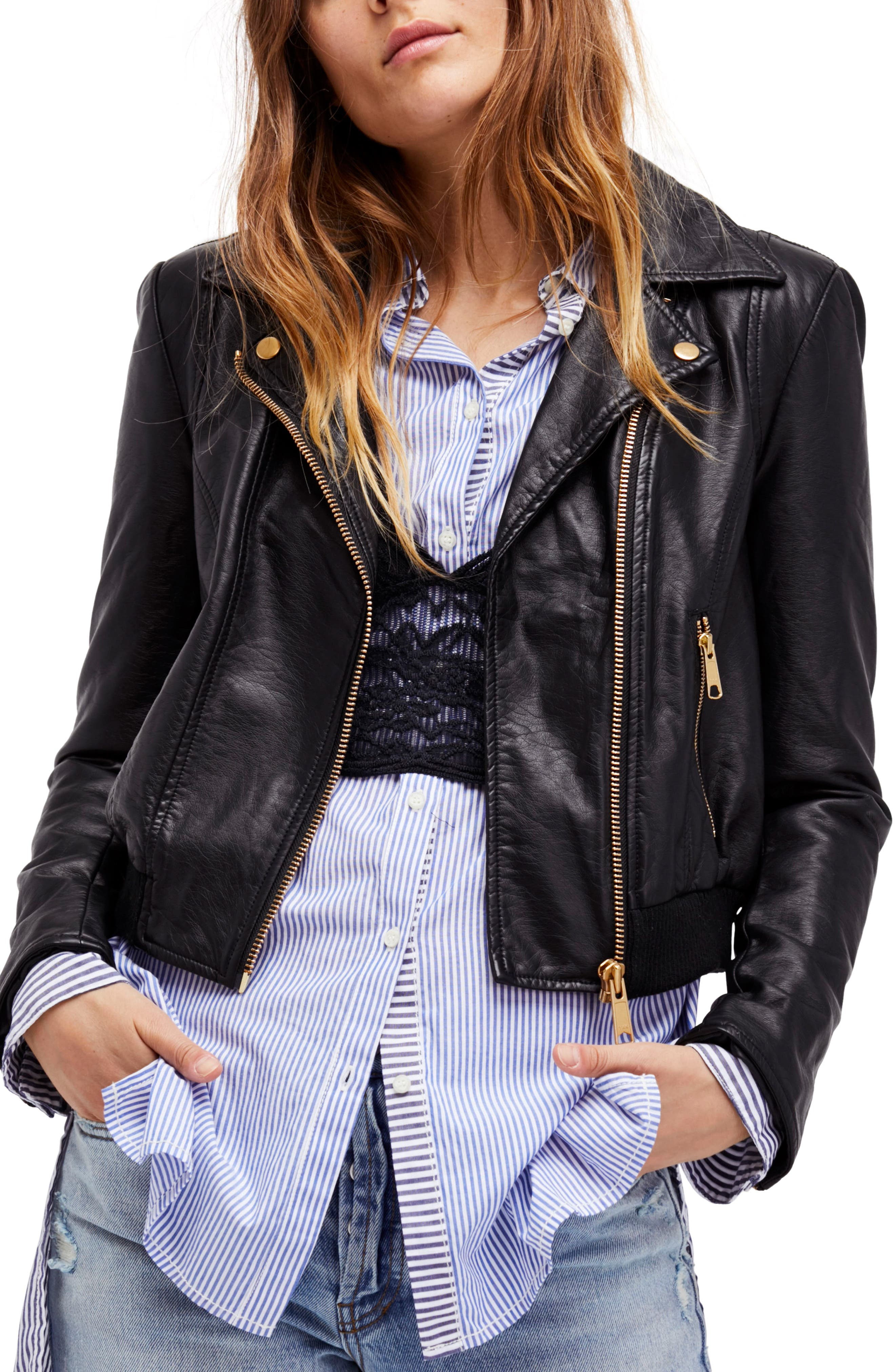Modern Faux Leather Bomber Jacket,                         Main,                         color, Black
