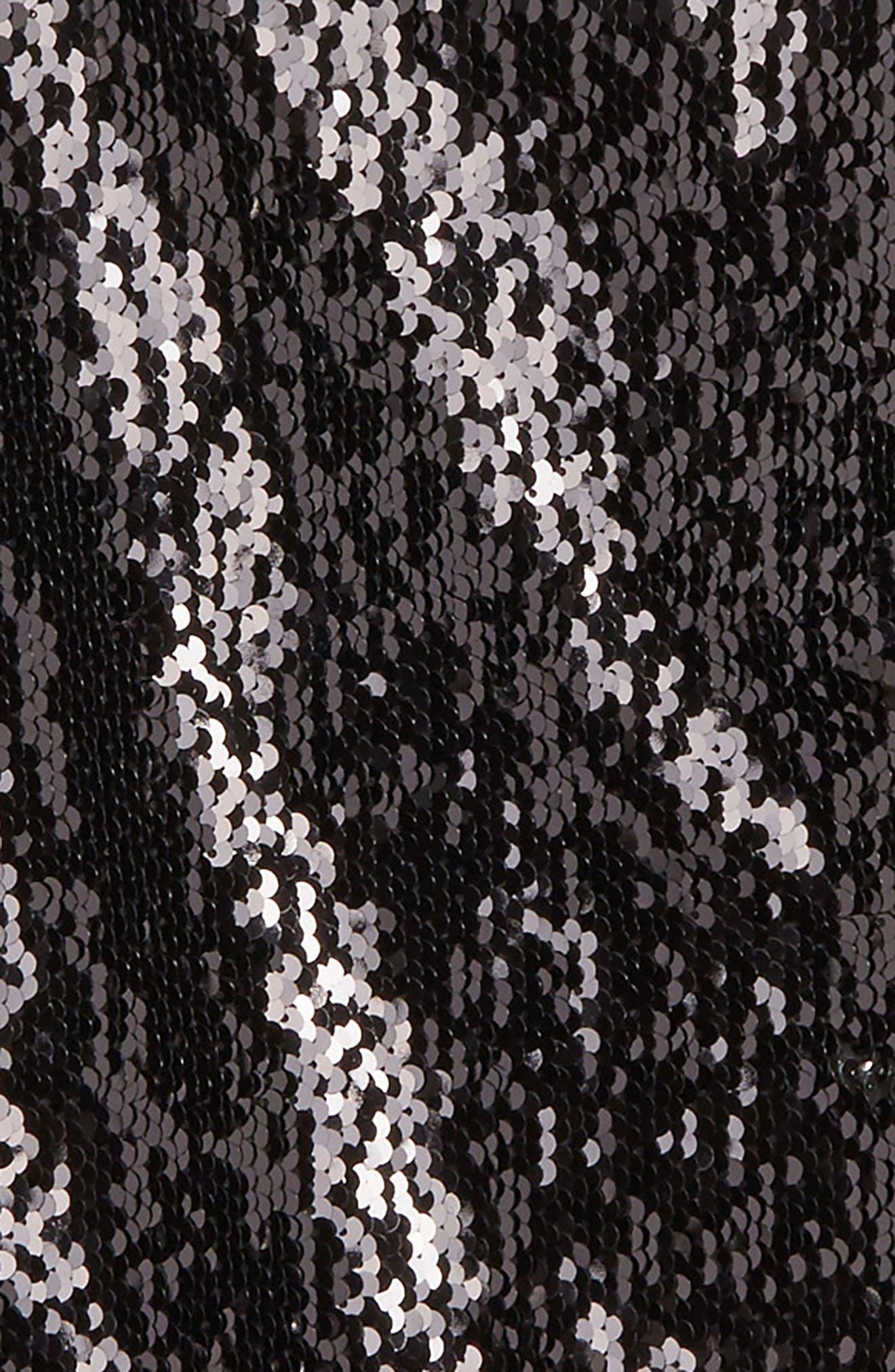 Sequin Sweatshirt,                             Alternate thumbnail 3, color,                             Silver/ Black