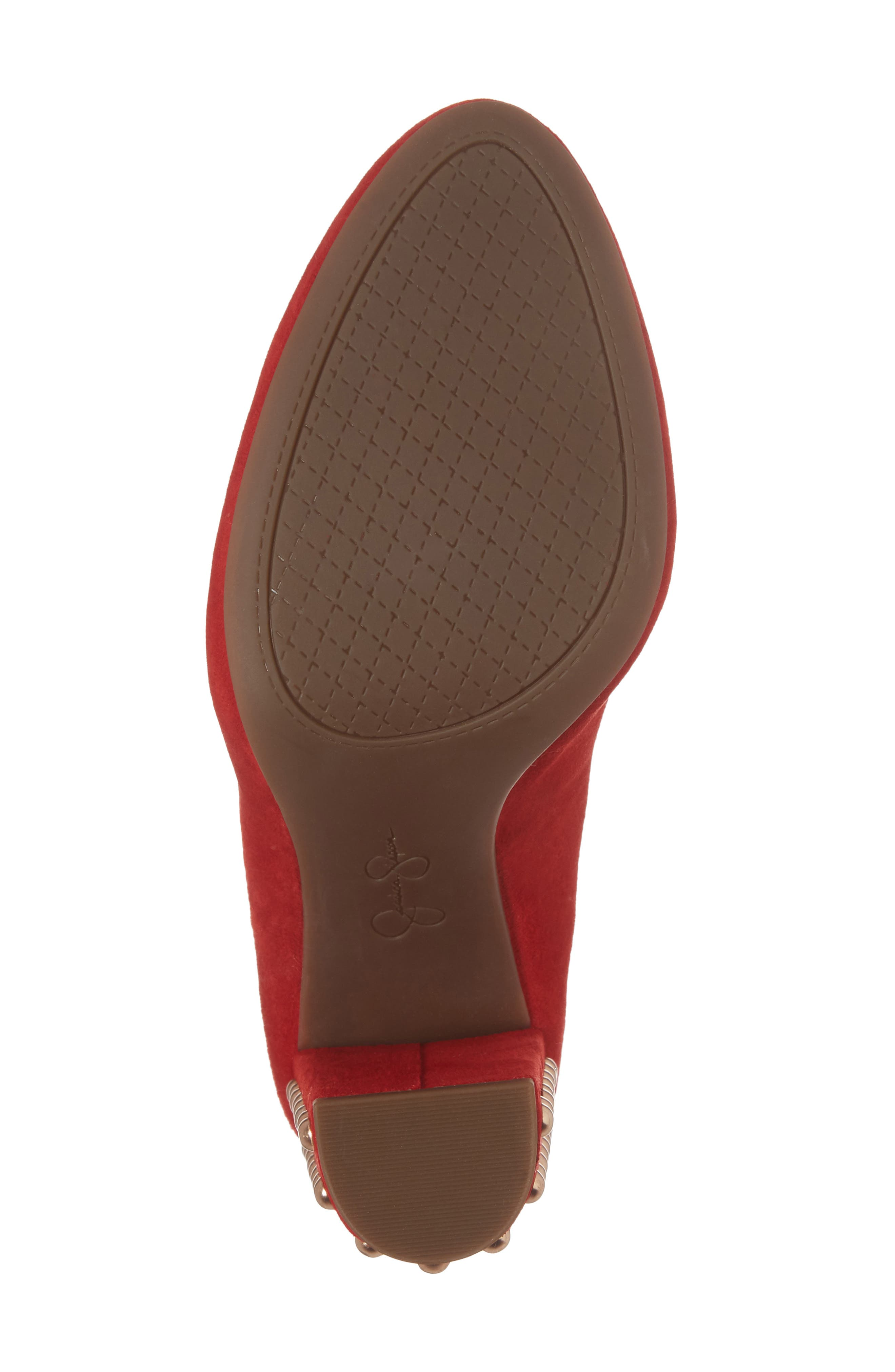 Bainer Block Heel Pump,                             Alternate thumbnail 6, color,                             Red Muse Suede