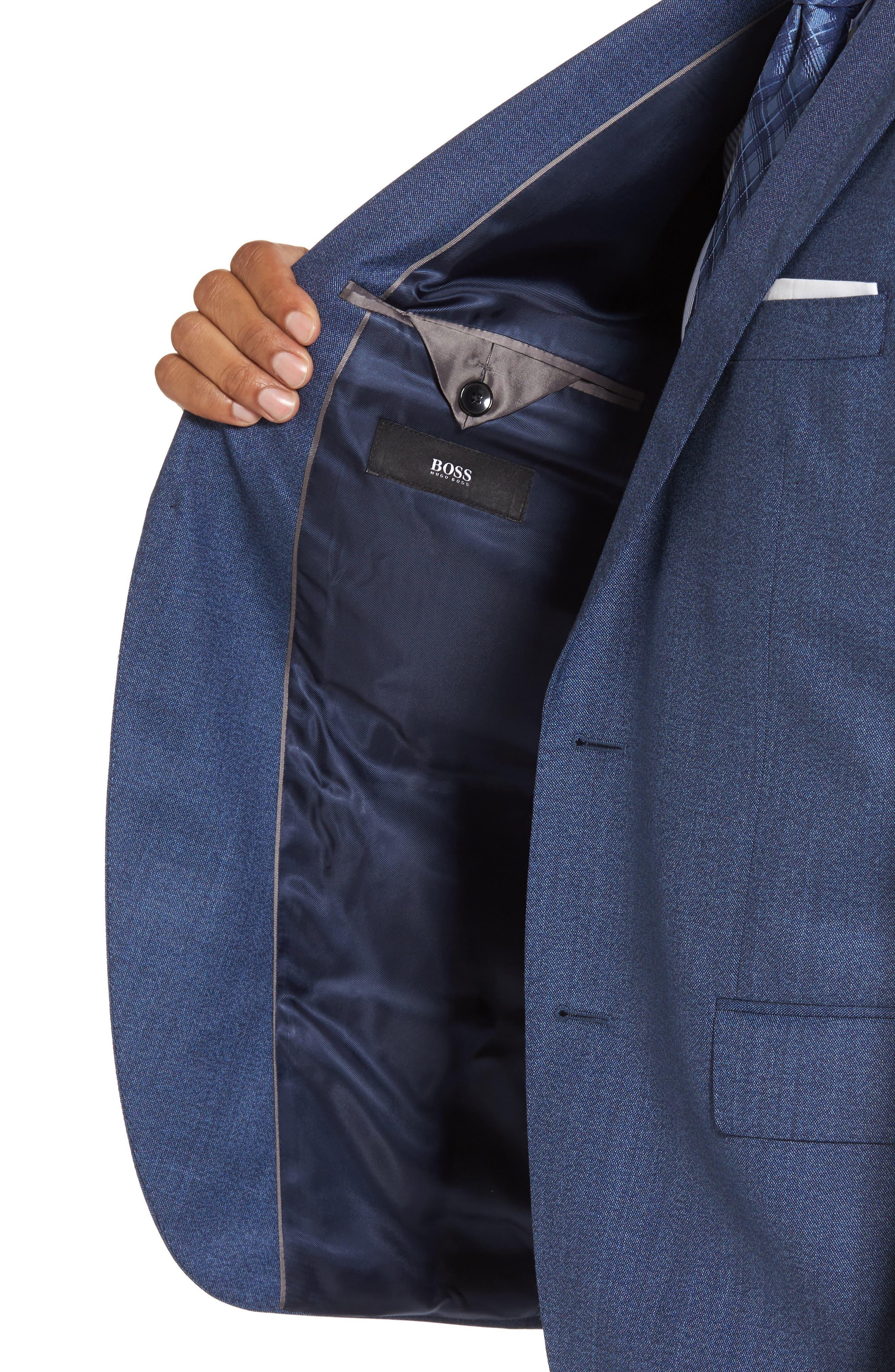 Johnstons/Lenon Classic Fit Solid Wool Suit,                             Alternate thumbnail 4, color,                             Medium Blue