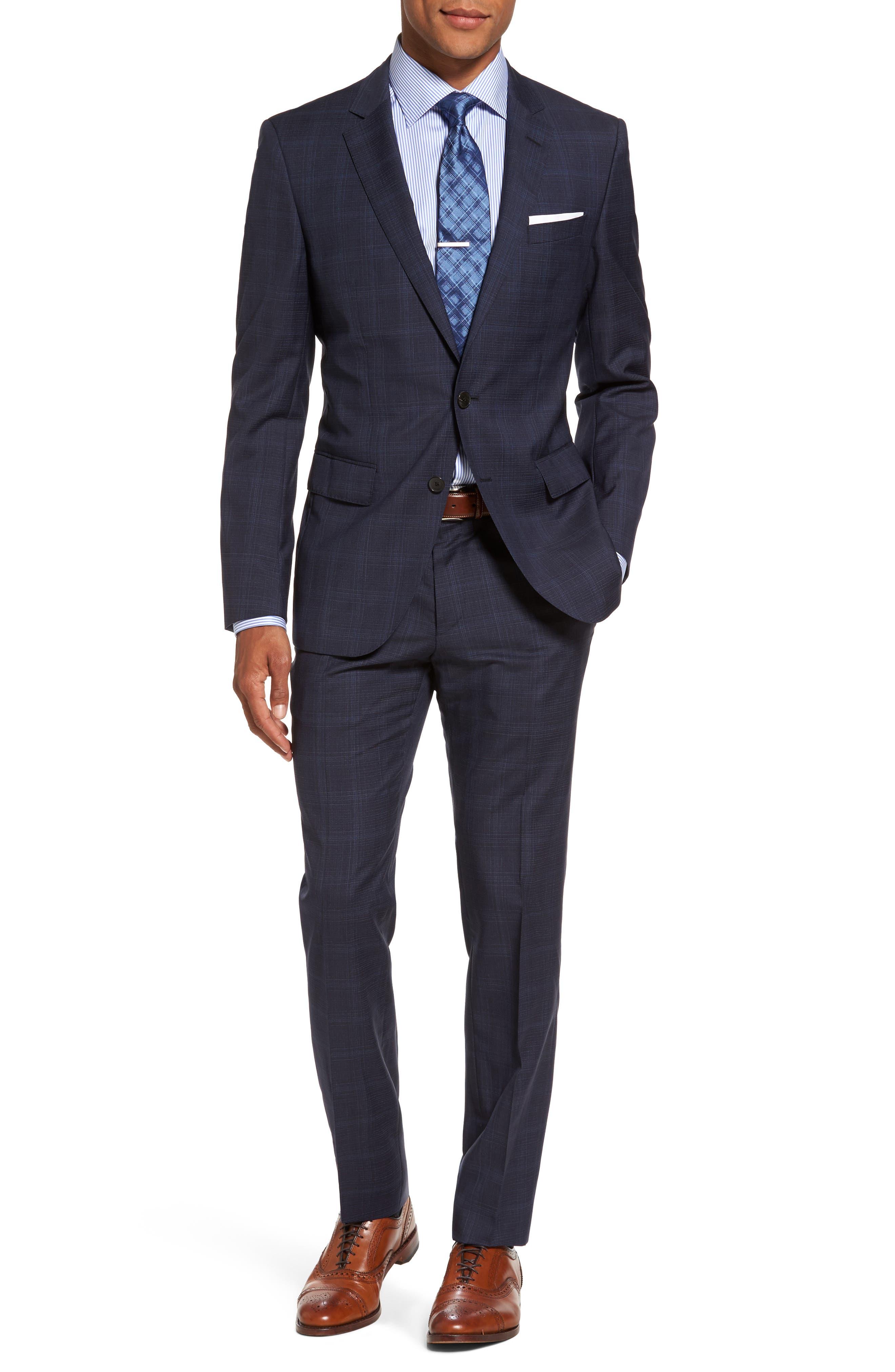 Huge/Genius Trim Fit Plaid Wool Suit,                         Main,                         color, Navy