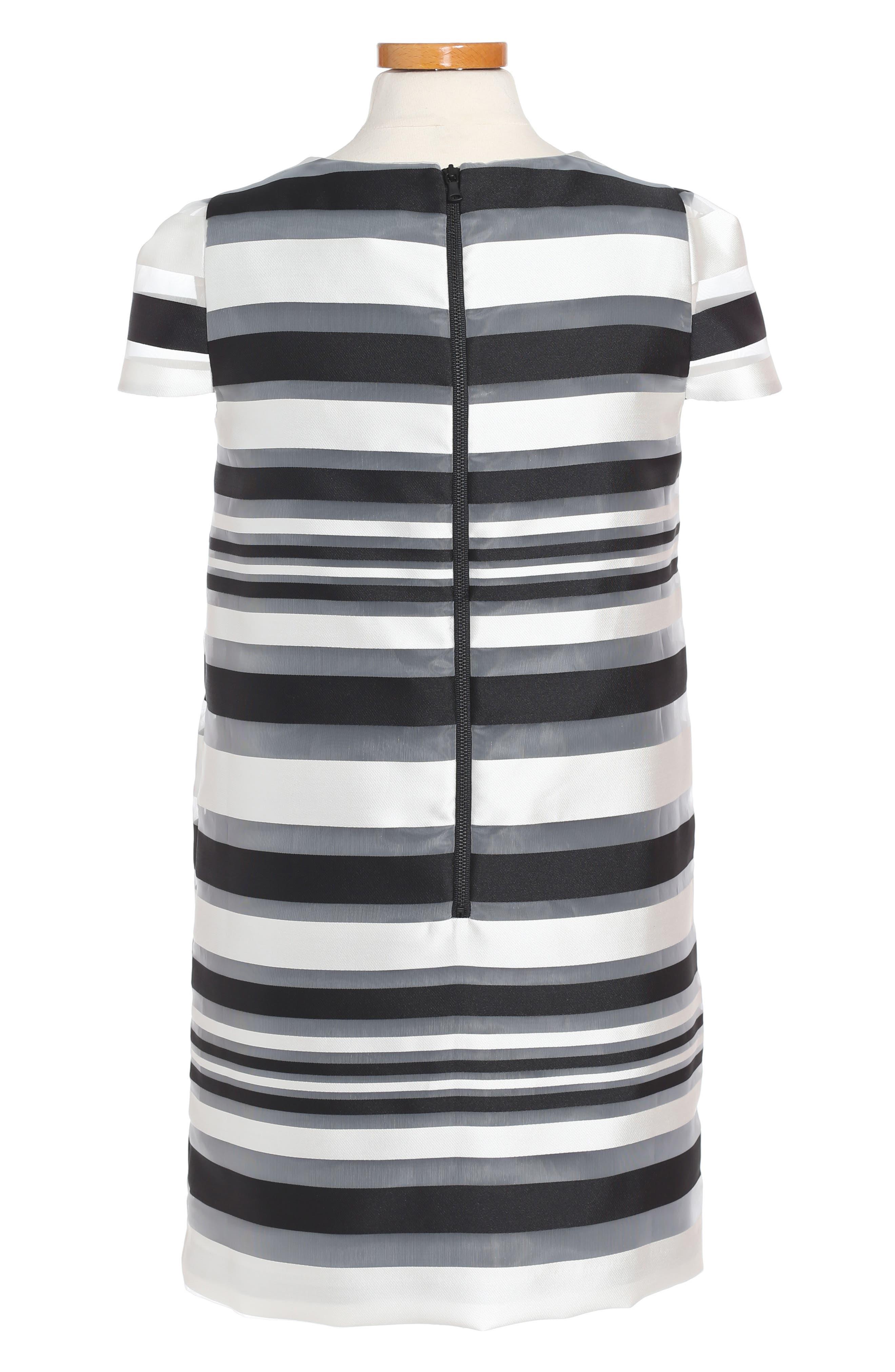 Chloe Illusion Stripe Shift Dress,                             Alternate thumbnail 2, color,                             White/ Black