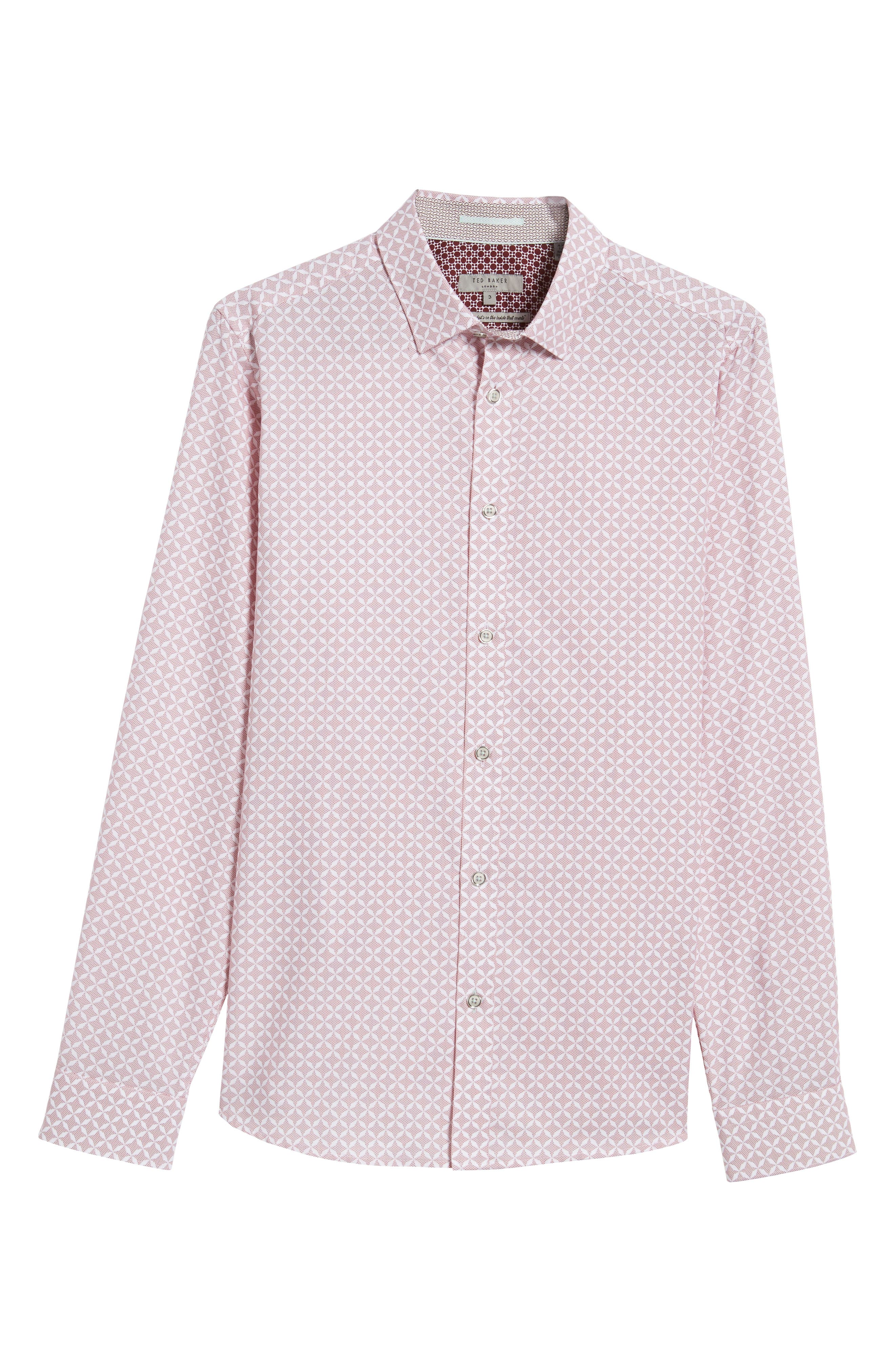 Langaz Dot Lattice Sport Shirt,                             Alternate thumbnail 5, color,                             Pink