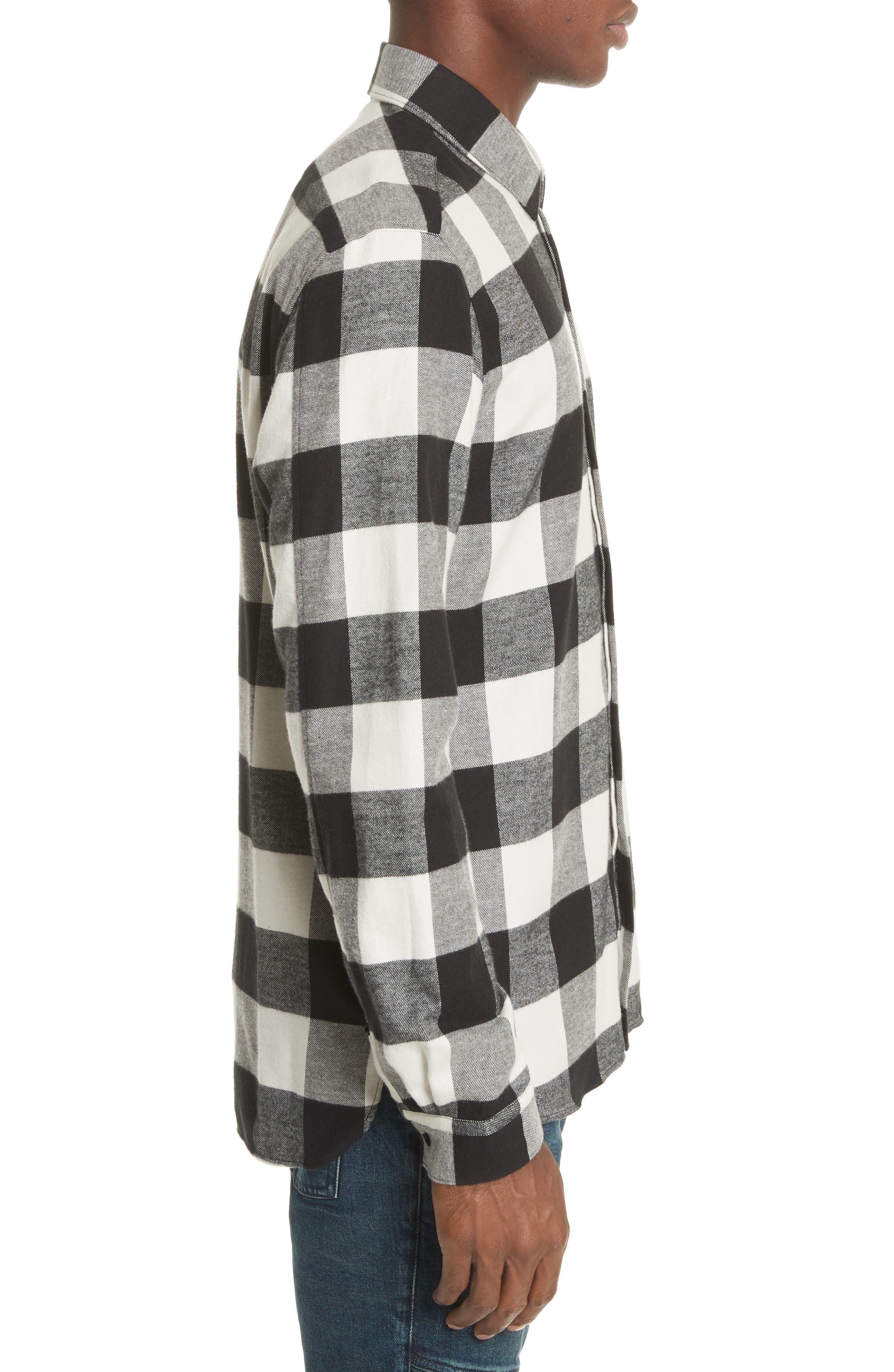 Live and Let Live Plaid Flannel Sport Shirt,                             Alternate thumbnail 3, color,                             Black/ Off White