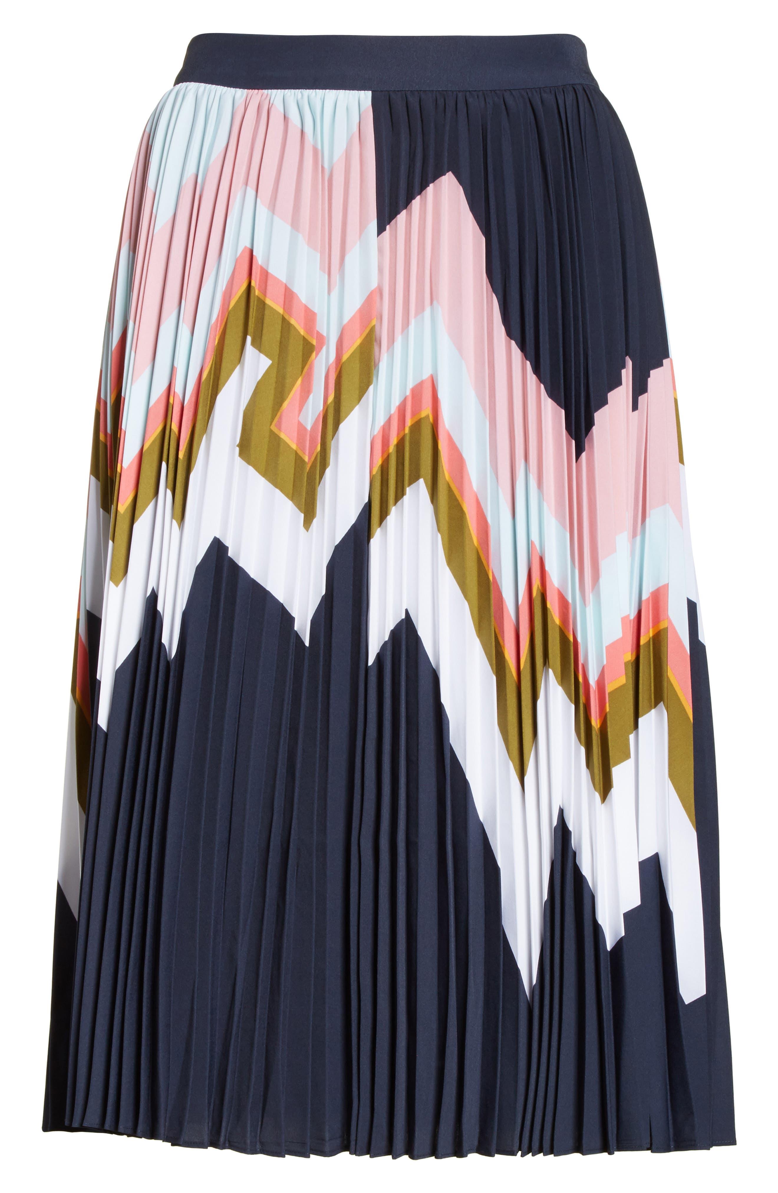 Evianna Mississippi Print Pleated Skirt,                             Alternate thumbnail 6, color,                             Navy