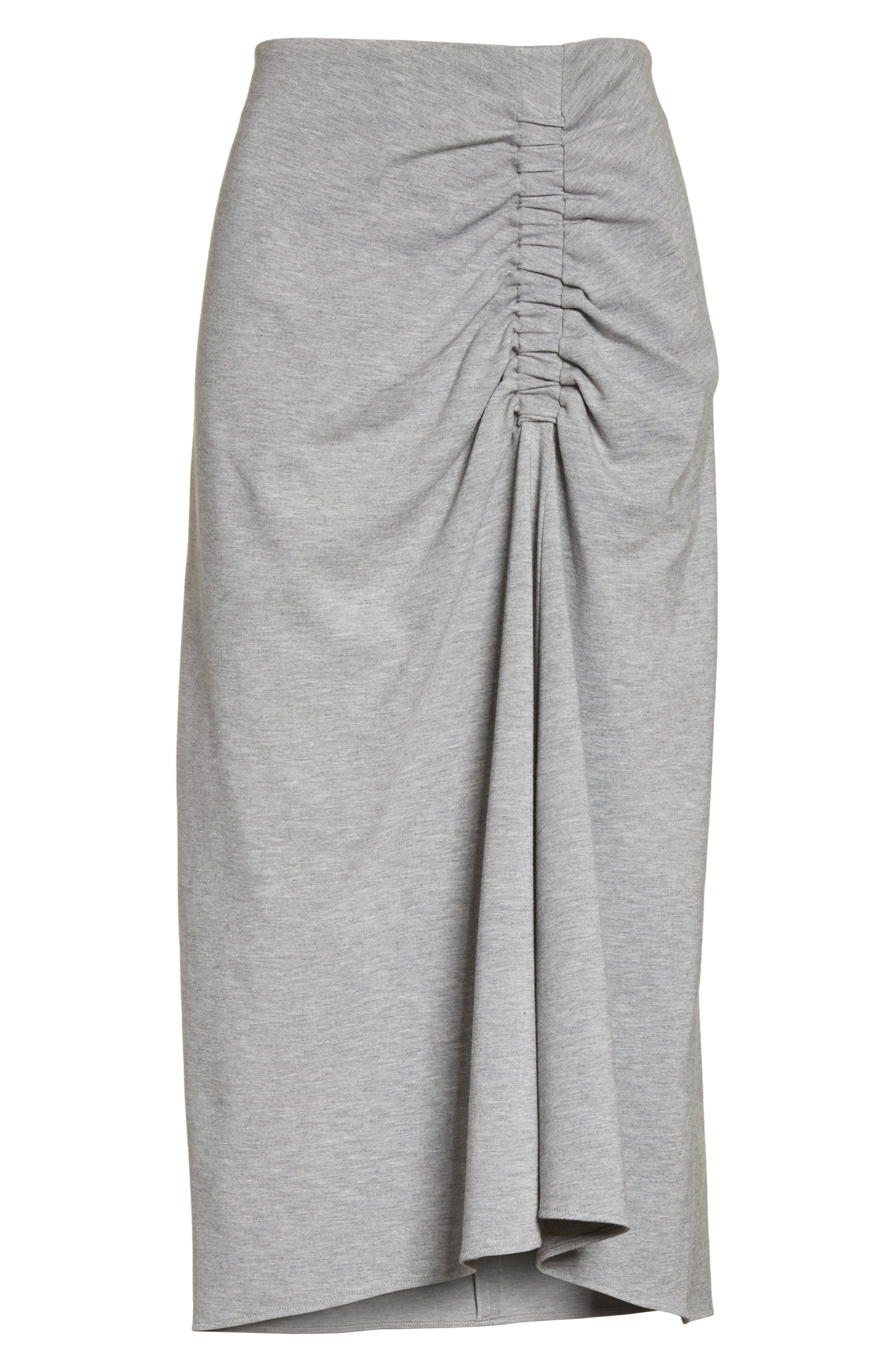Ruched Midi Skirt,                             Alternate thumbnail 6, color,                             Heather Grey